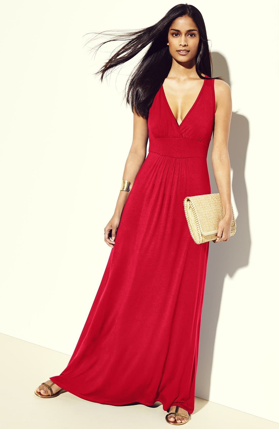 Alternate Image 3  - Loveappella V-Neck Jersey Maxi Dress (Regular & Petite)