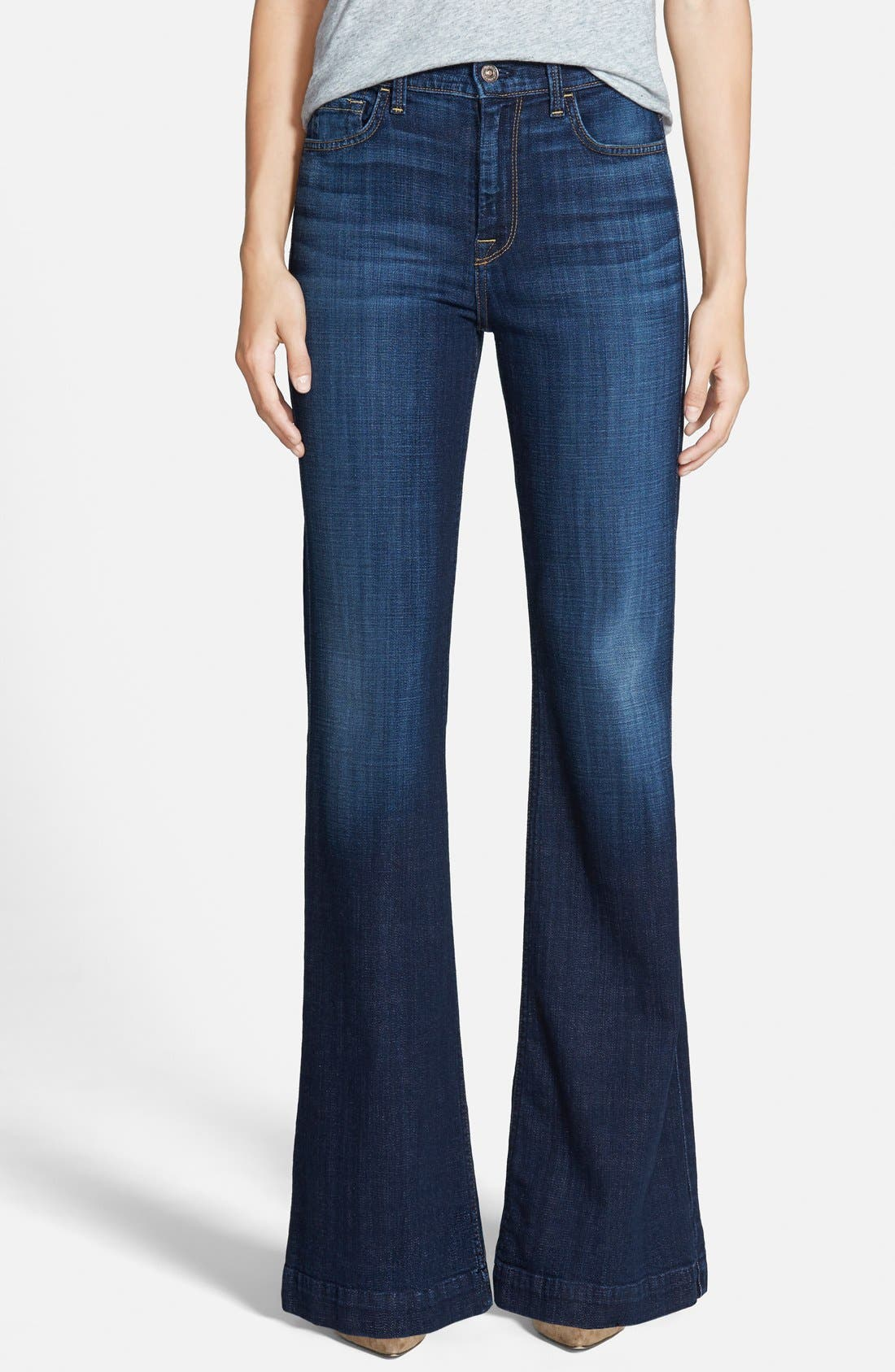 Alternate Image 1 Selected - 7 For All Mankind® 'Ginger' High Rise Flare Jeans (Royal Broken Twill)