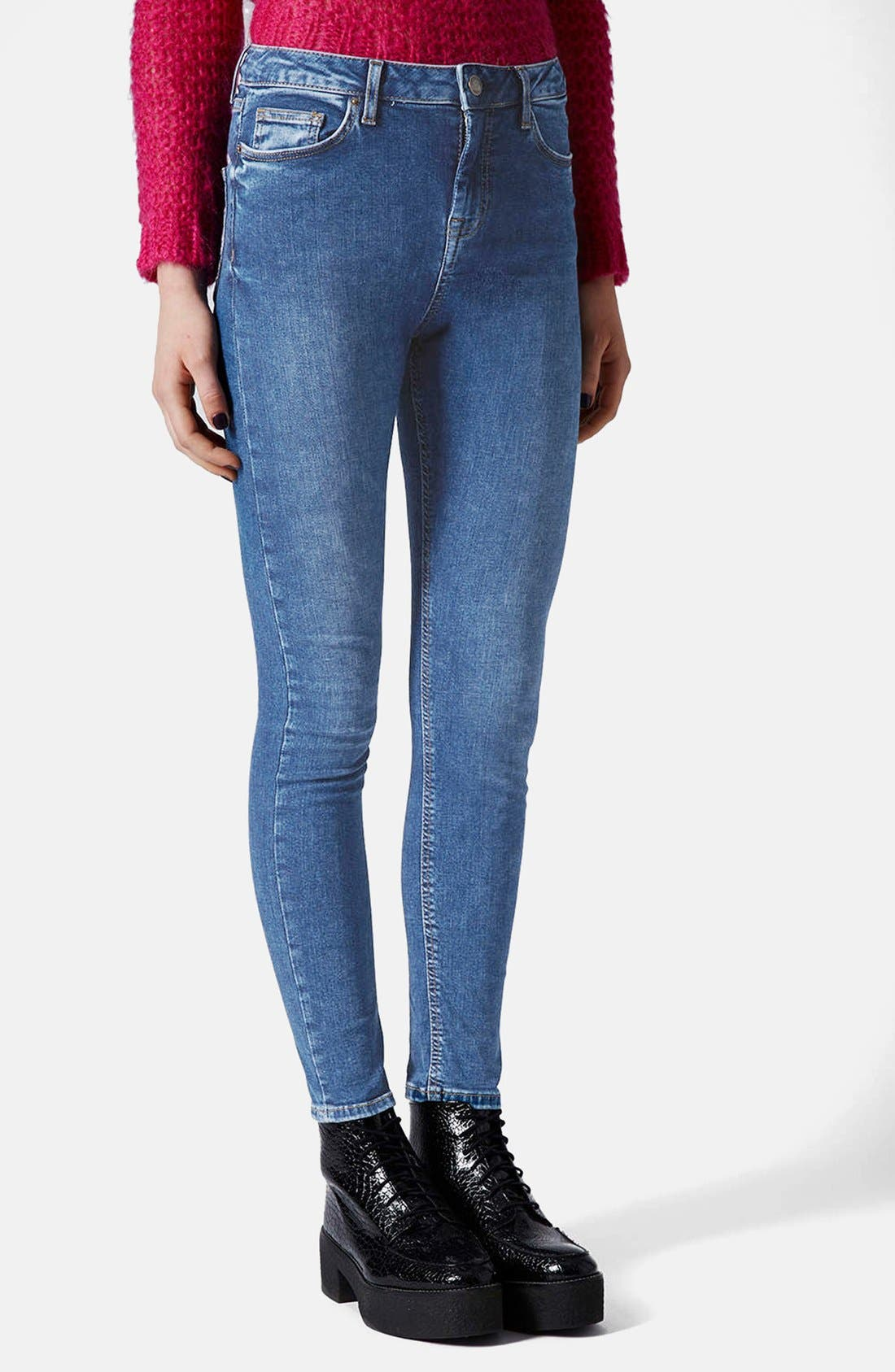 Alternate Image 1 Selected - Topshop Moto 'Jamie' Skinny Jeans (Blue) (Regular & Short)