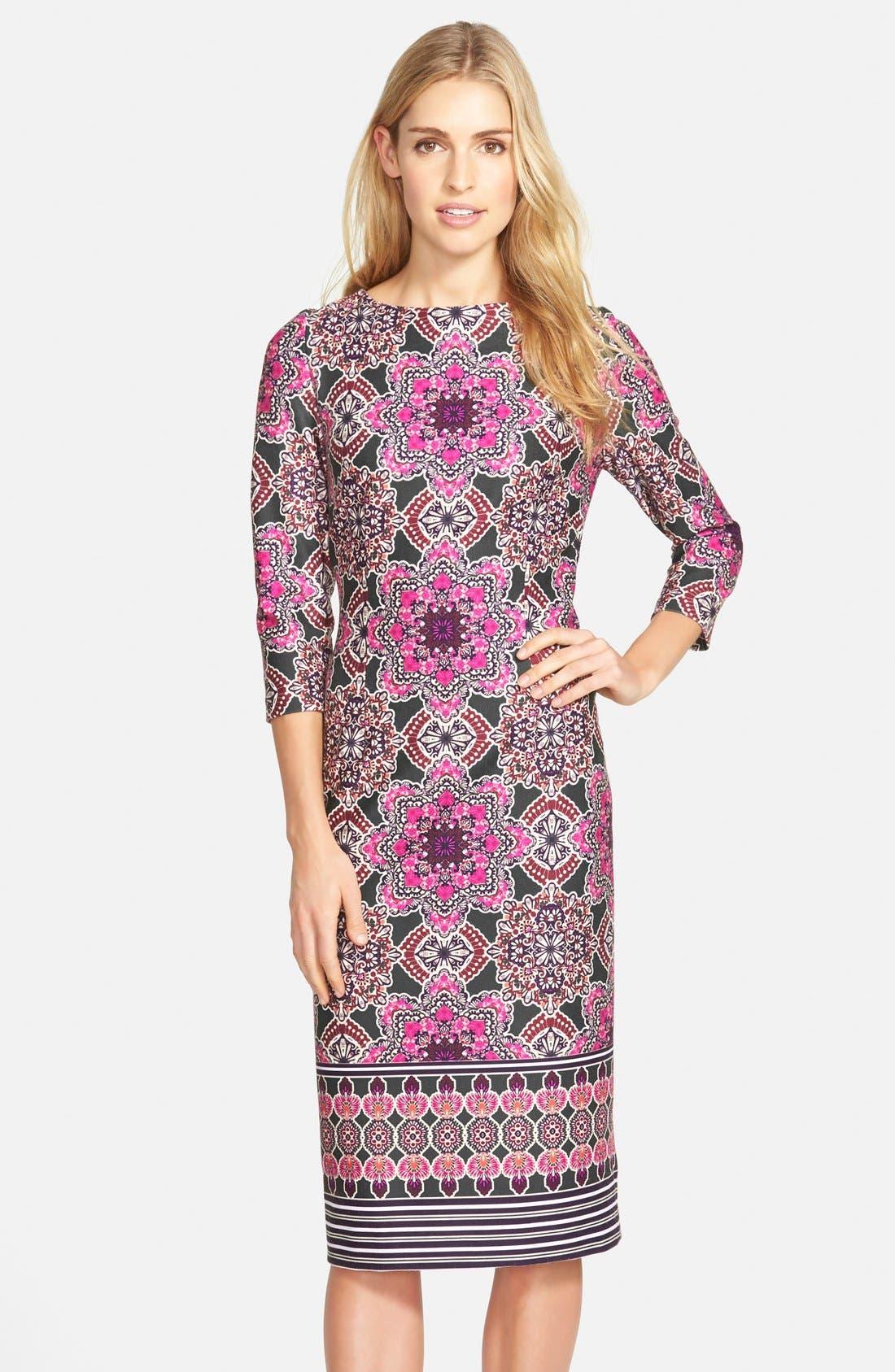 Main Image - Eliza J Print Ponte Midi Sheath Dress