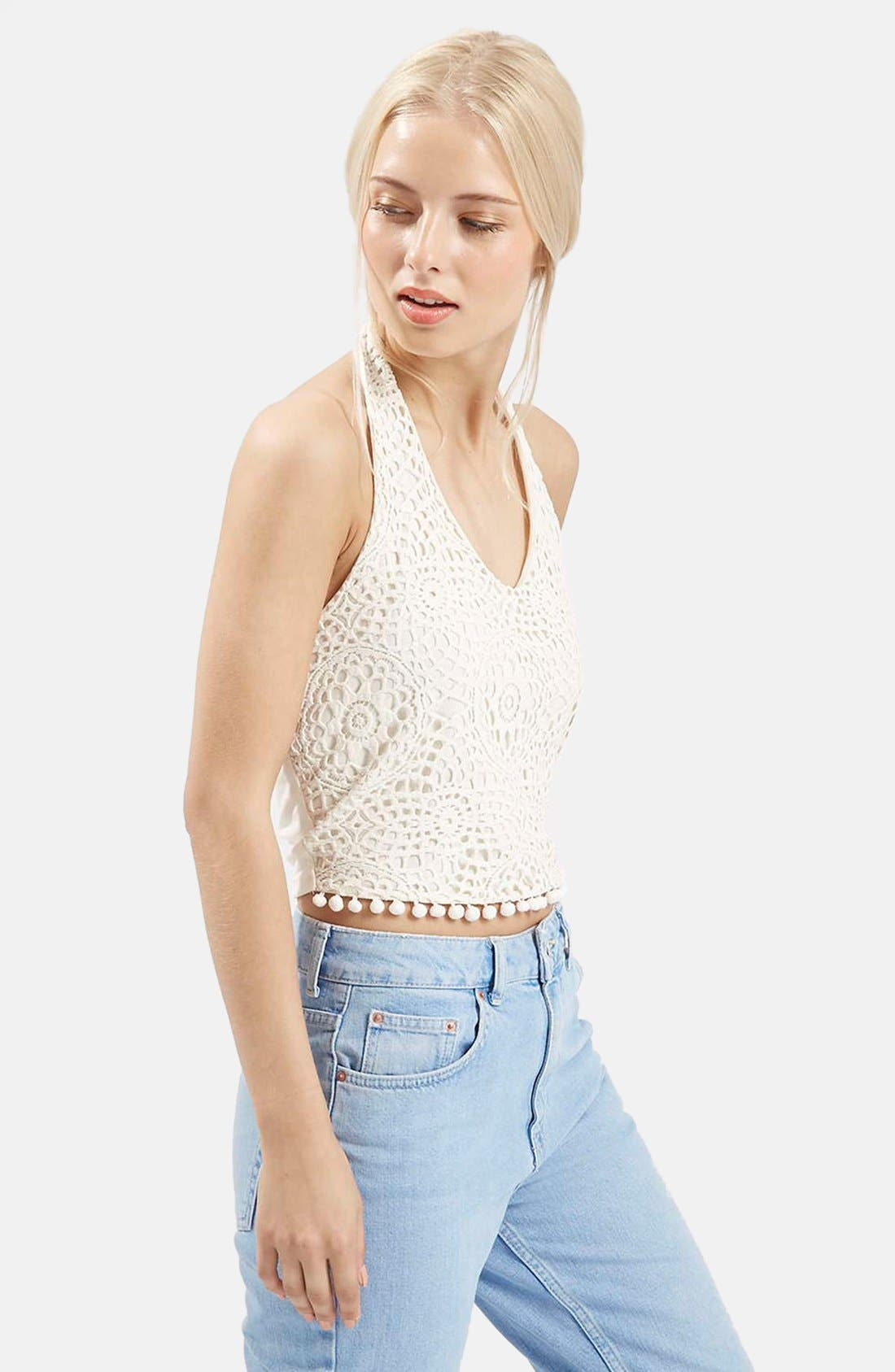 Alternate Image 1 Selected - Topshop Crochet Halter Neck Top