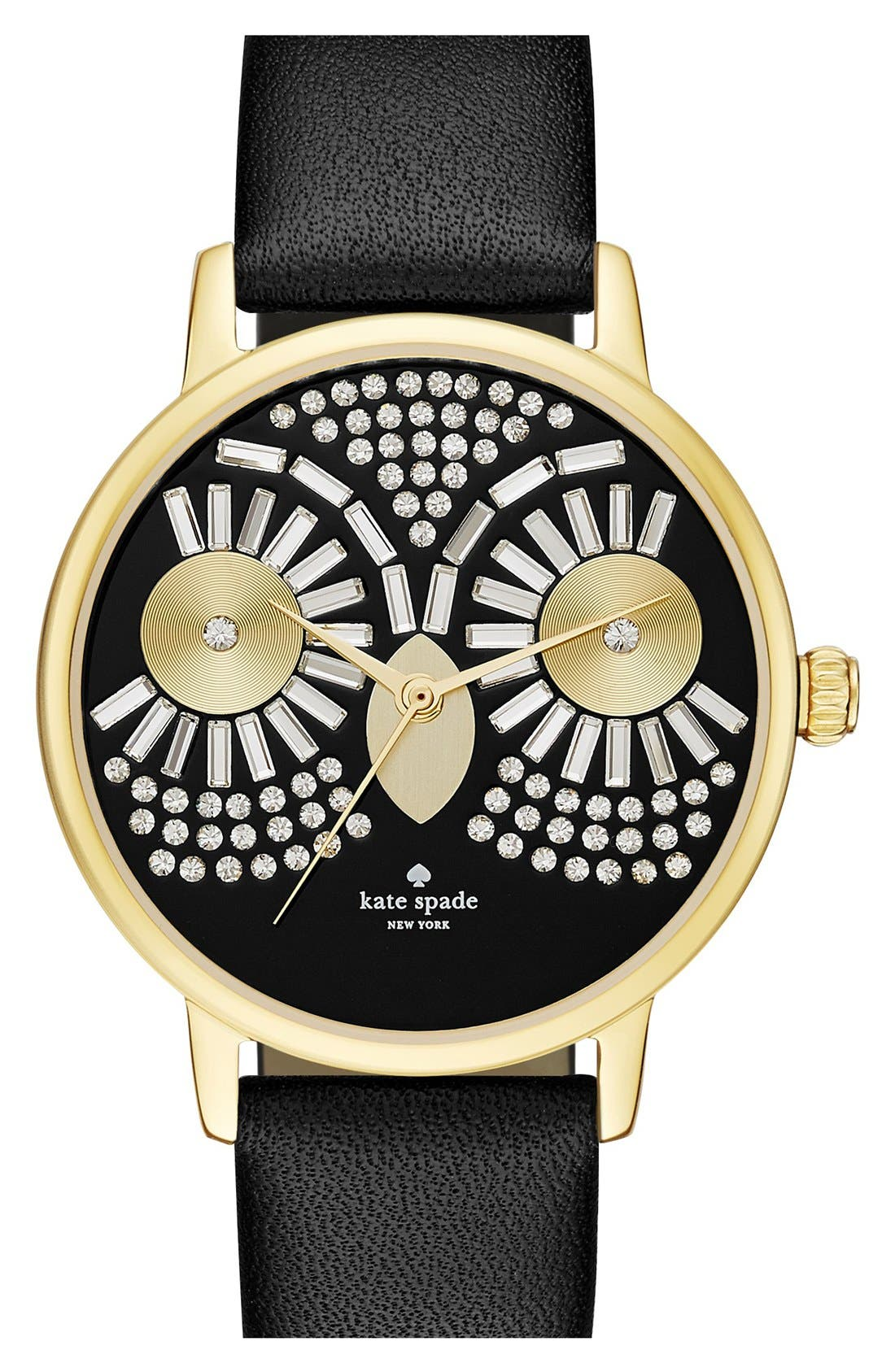 Main Image - kate spade new york 'metro - night owl' leather strap watch, 33mm
