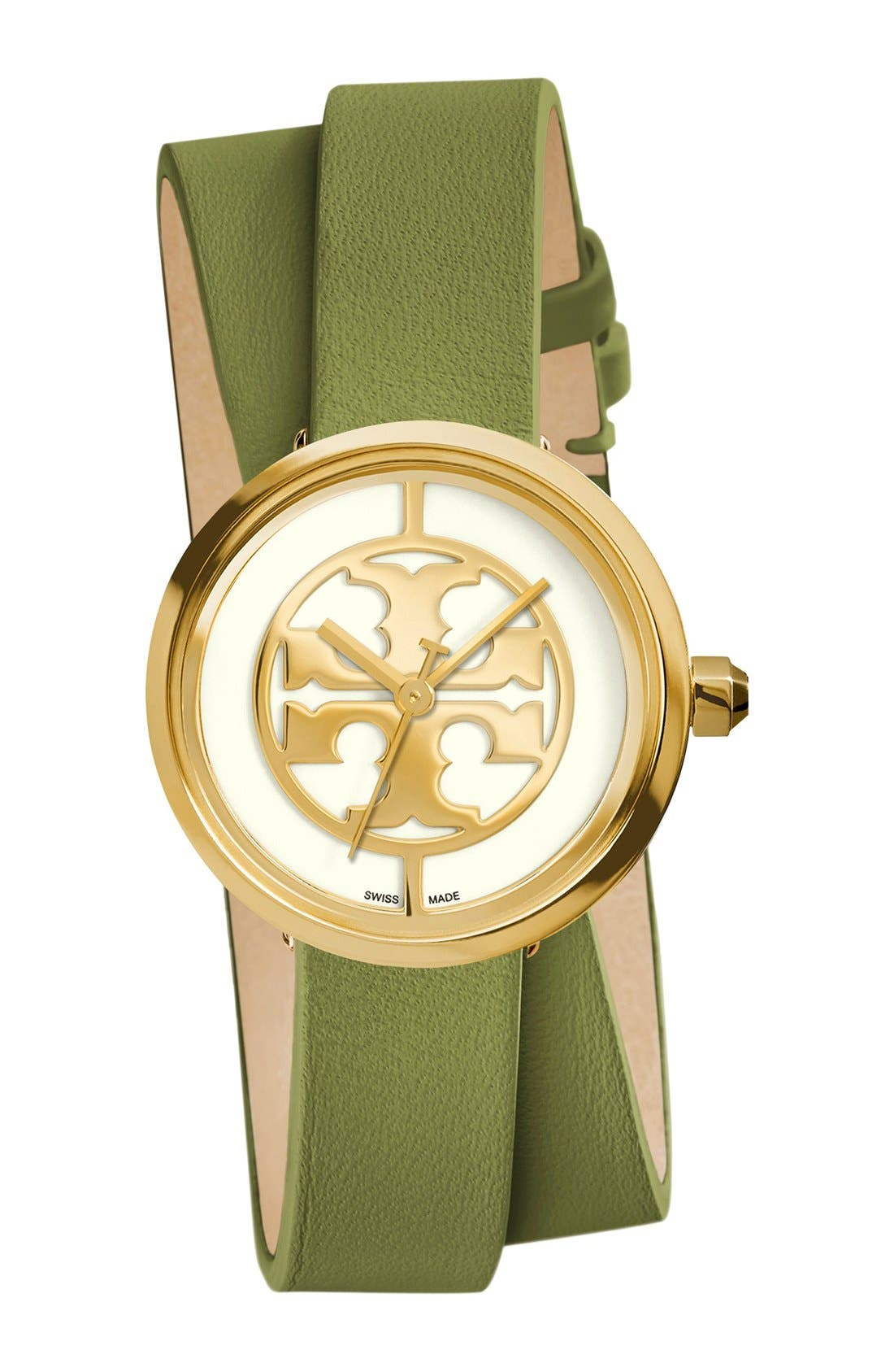 Alternate Image 1 Selected - Tory Burch 'Reva' Logo Dial Double Wrap Leather Strap Watch, 28mm