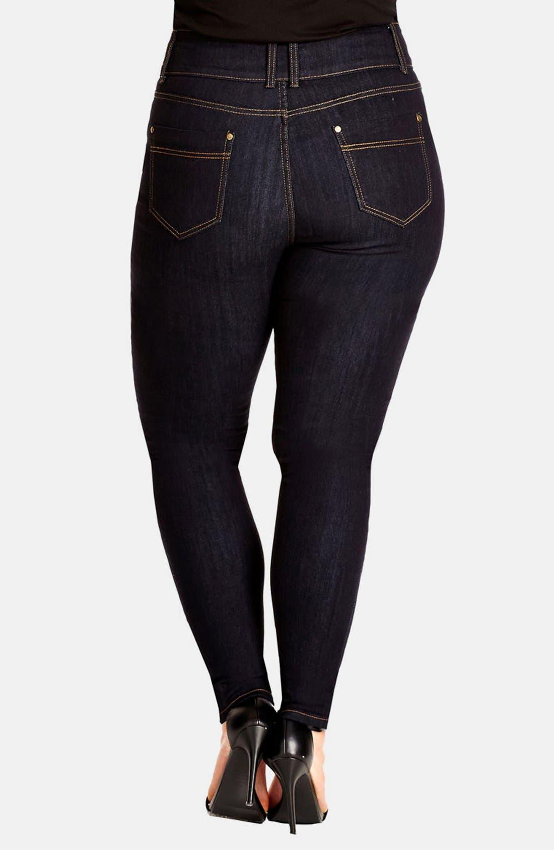 Alternate Image 2  - City Chic 'Slim Me' Skinny Jeans (Dark Denim) (Plus Size)