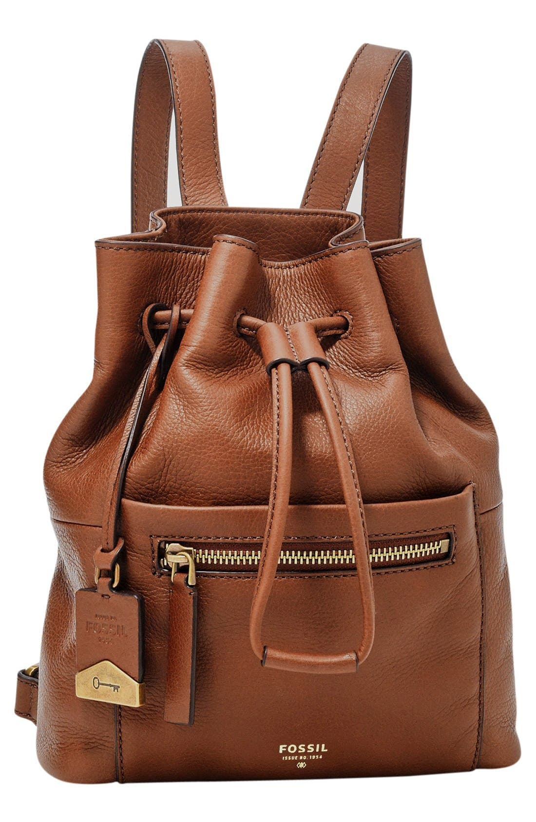 Main Image - Fossil 'Vickery' Drawstring Leather Backpack