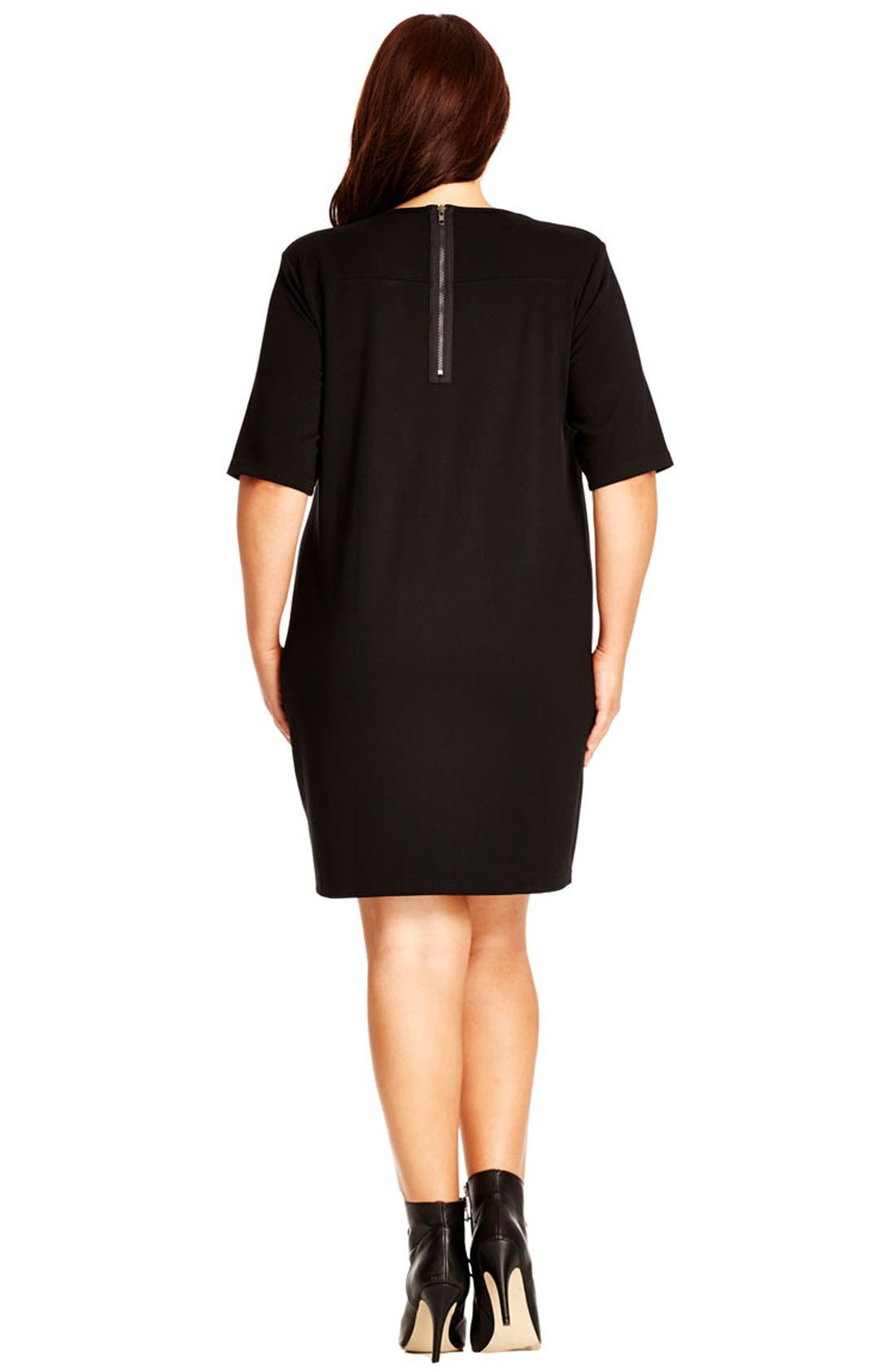 Alternate Image 2  - City Chic Faux Leather Front Shift Dress (Plus Size)
