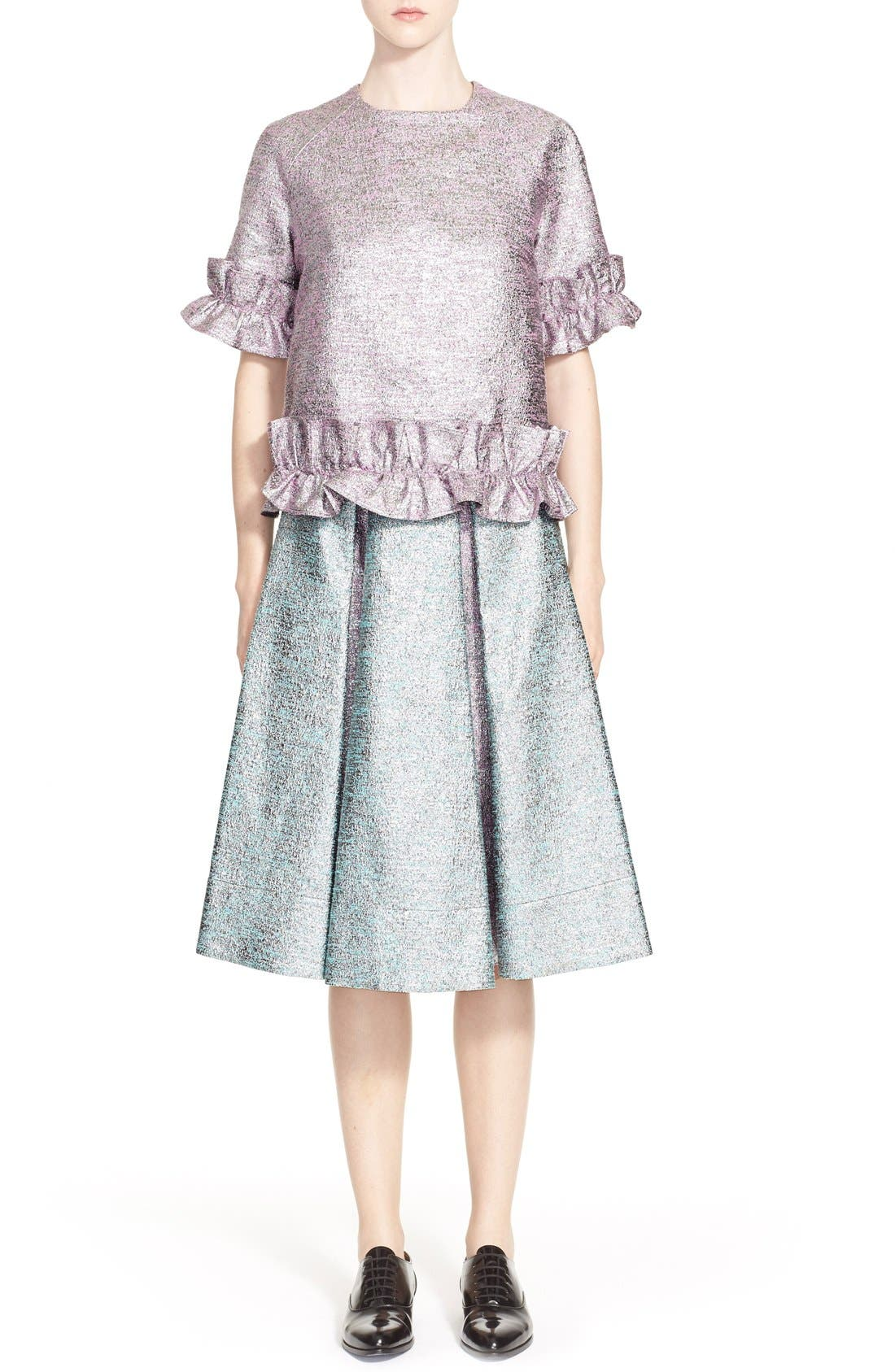 Alternate Image 7  - PASKAL Metallic Inverted Pleat Flared Skirt