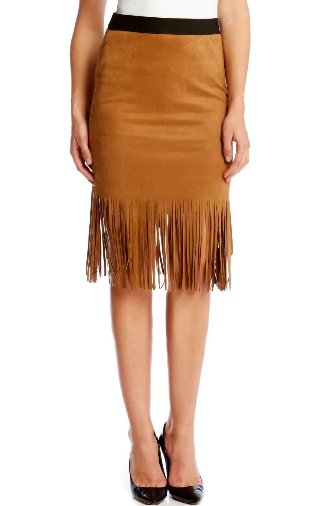Alternate Image 1 Selected - Karen Kane Faux Suede Midi Pencil Skirt with Fringe