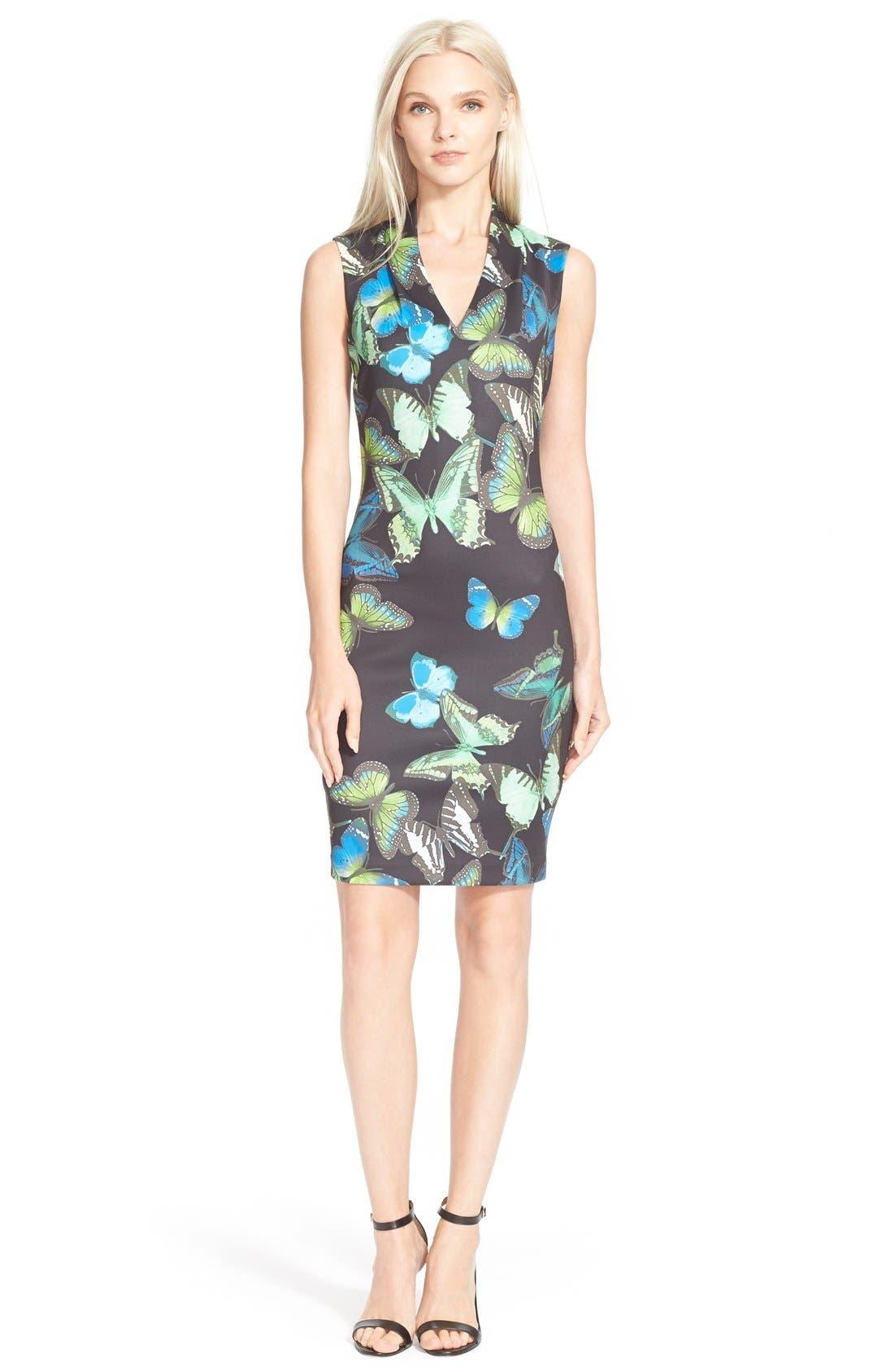 Main Image - Ted Baker London 'Aly' Butterfly Print Neoprene Body-Con Dress