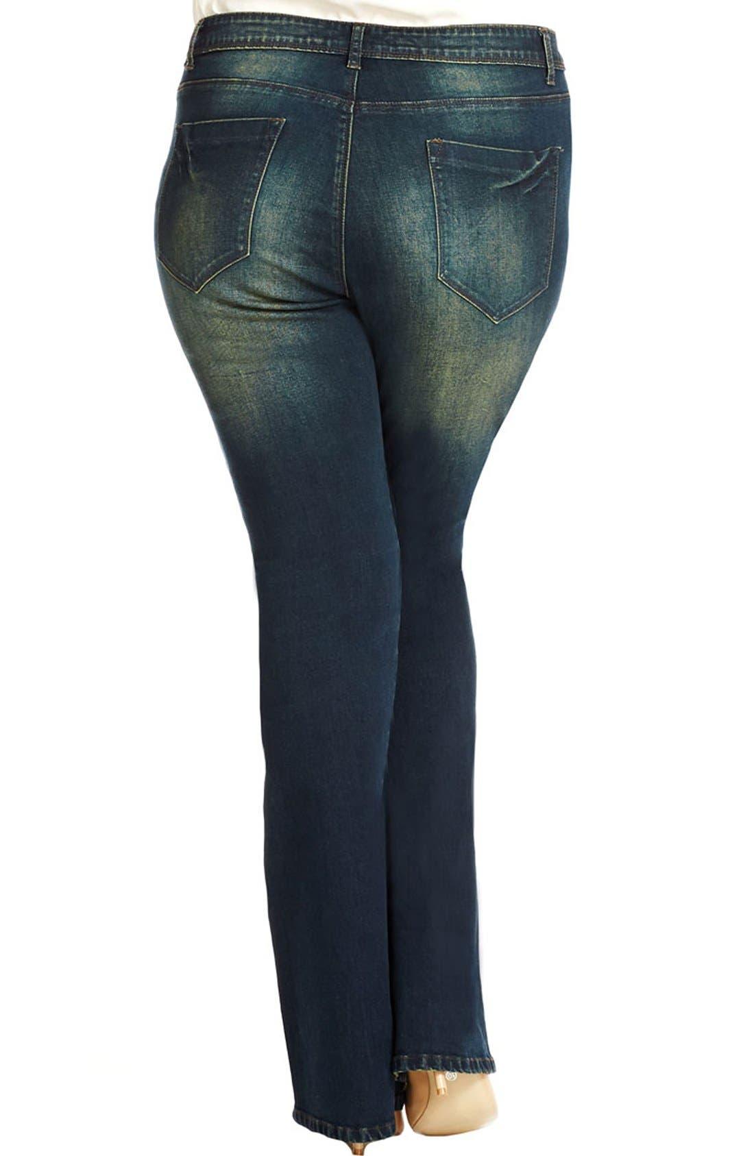 Alternate Image 2  - City Chic 'Dirty Wash' Stretch Bootcut Jeans (Dark Denim) (Plus Size)