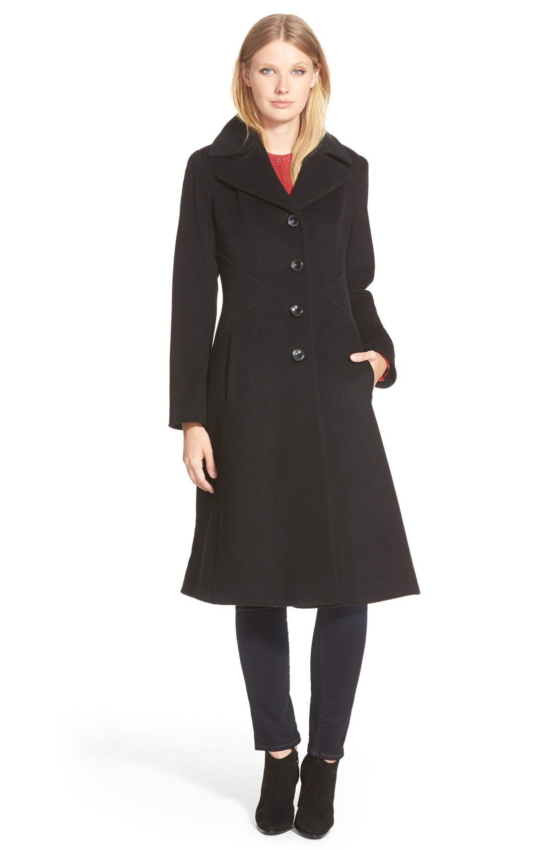 GEORGE SIMONTON Angle Seamed Wool Blend Reefer Coat