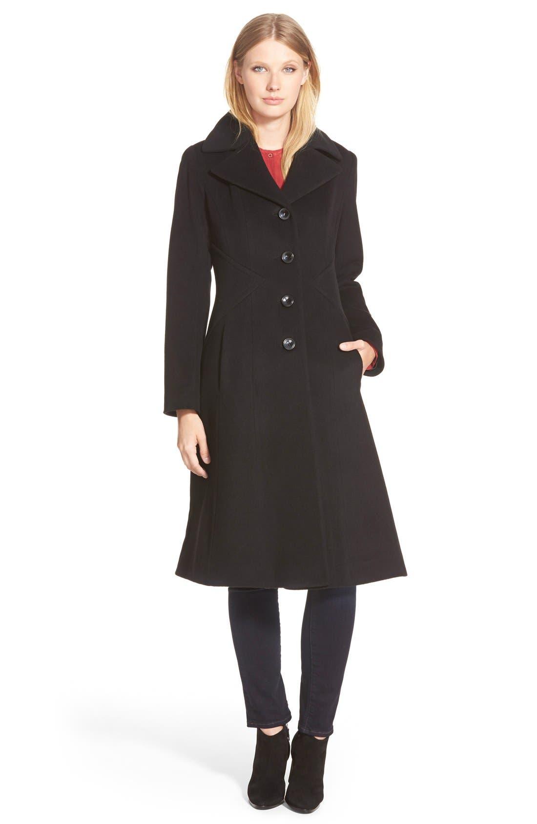 George Simonton Angle Seamed Wool Blend Reefer Coat (Regular & Petite)