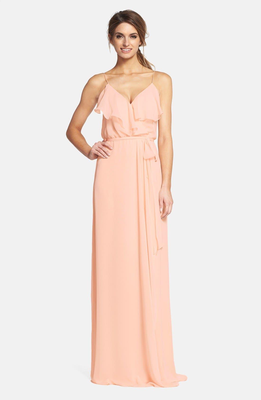 Main Image - nouvelle AMSALE 'Drew' Ruffle Front Chiffon Gown