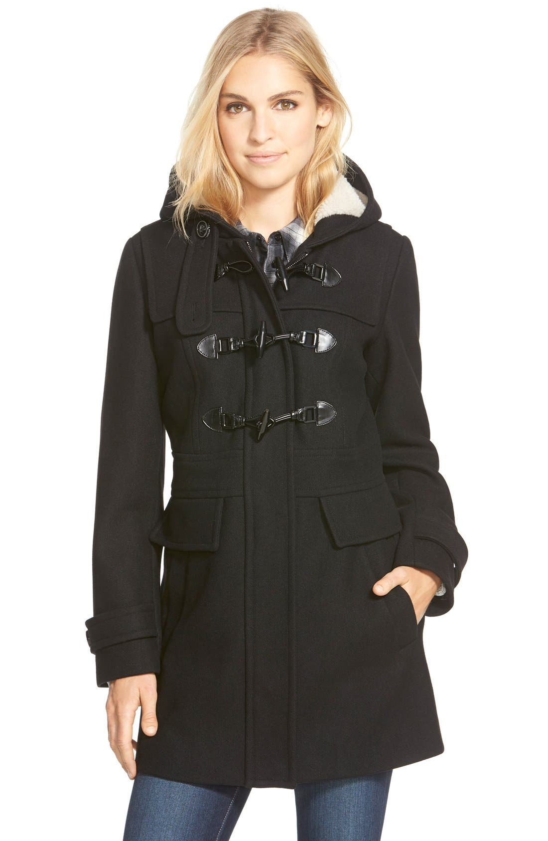 Main Image - London Fog Wool Blend Duffle Coat with Faux Shearling Lined Hood