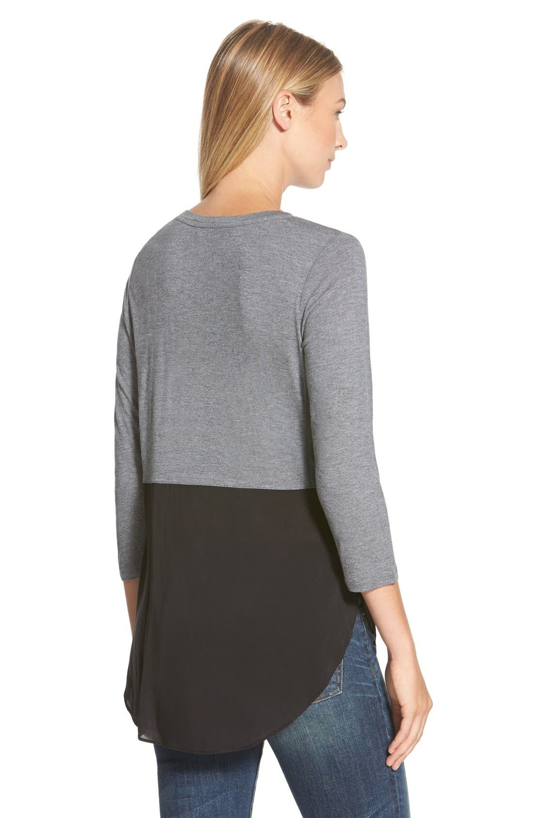 Alternate Image 2  - Two by Vince Camuto Mixed Media Jewel Neck Tunic