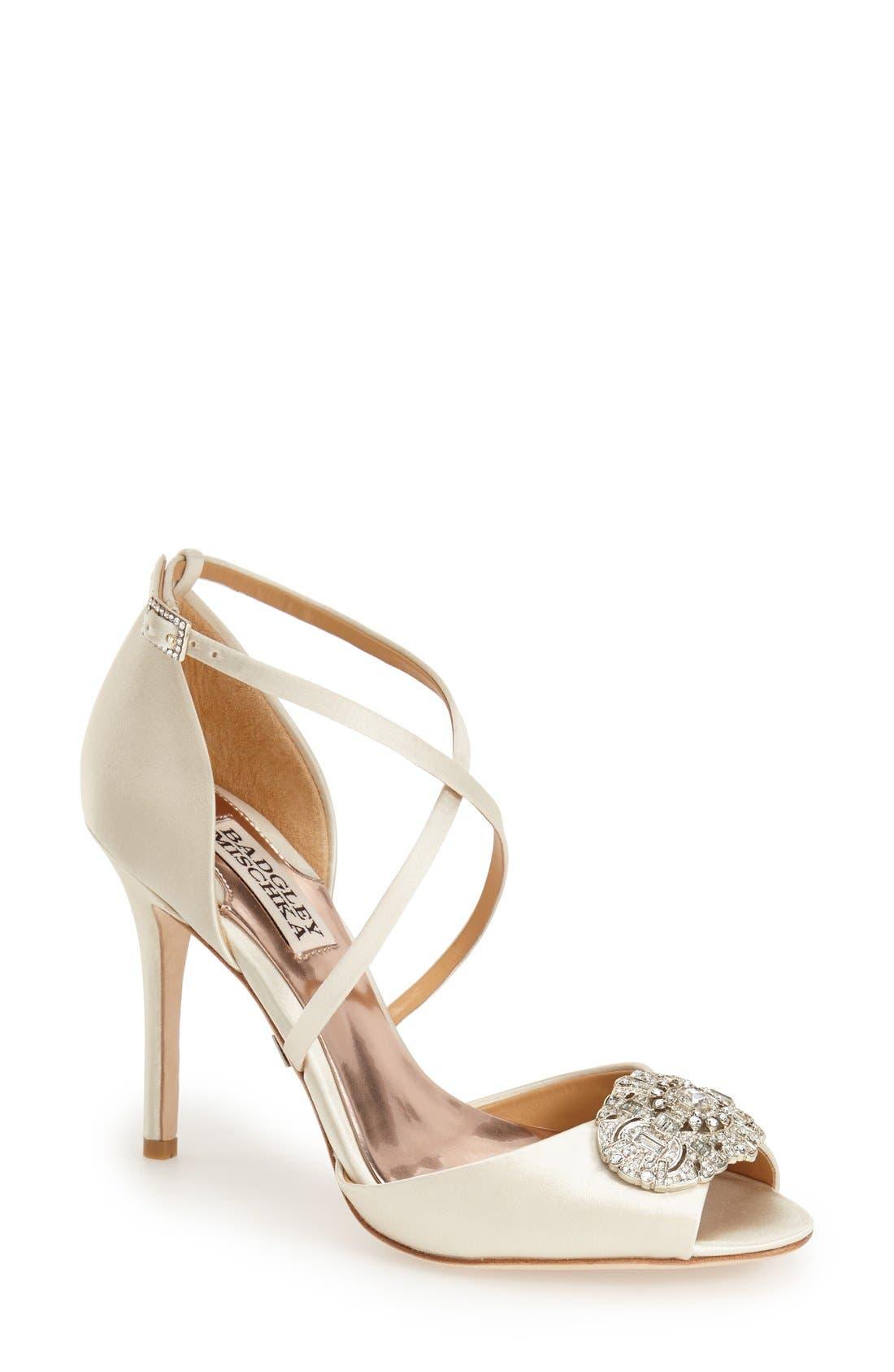 Main Image - BadgleyMischka'Sari' Crystal OpenToe Sandal (Women)