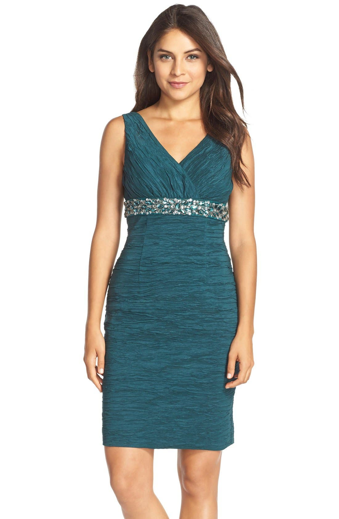 Main Image - Eliza J Embellished Waist Crinkled Taffeta Dress (Regular & Petite)