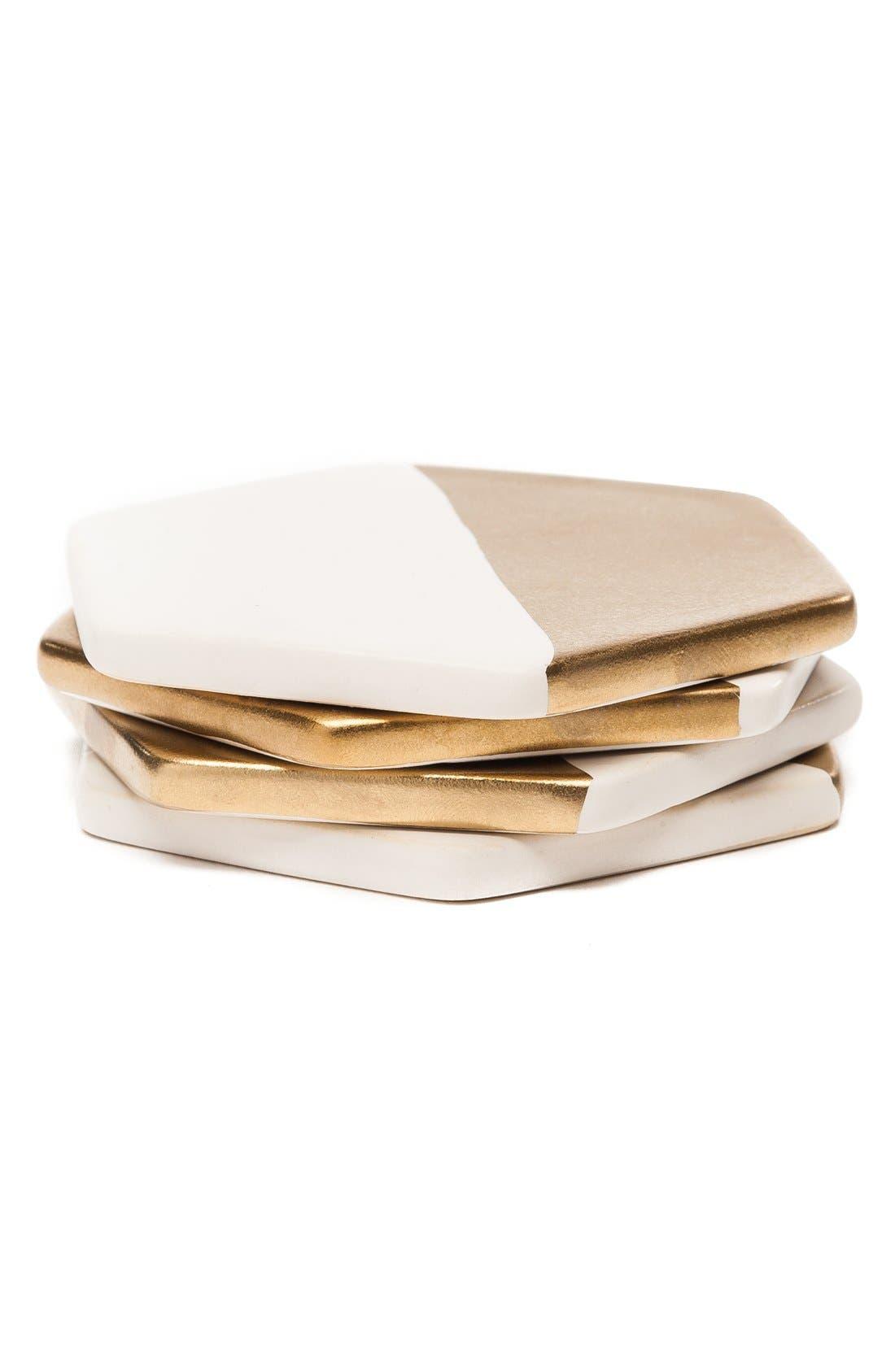 Alternate Image 1 Selected - zestt 'Hampton' Gilded Ceramic Coasters (Set of 4)