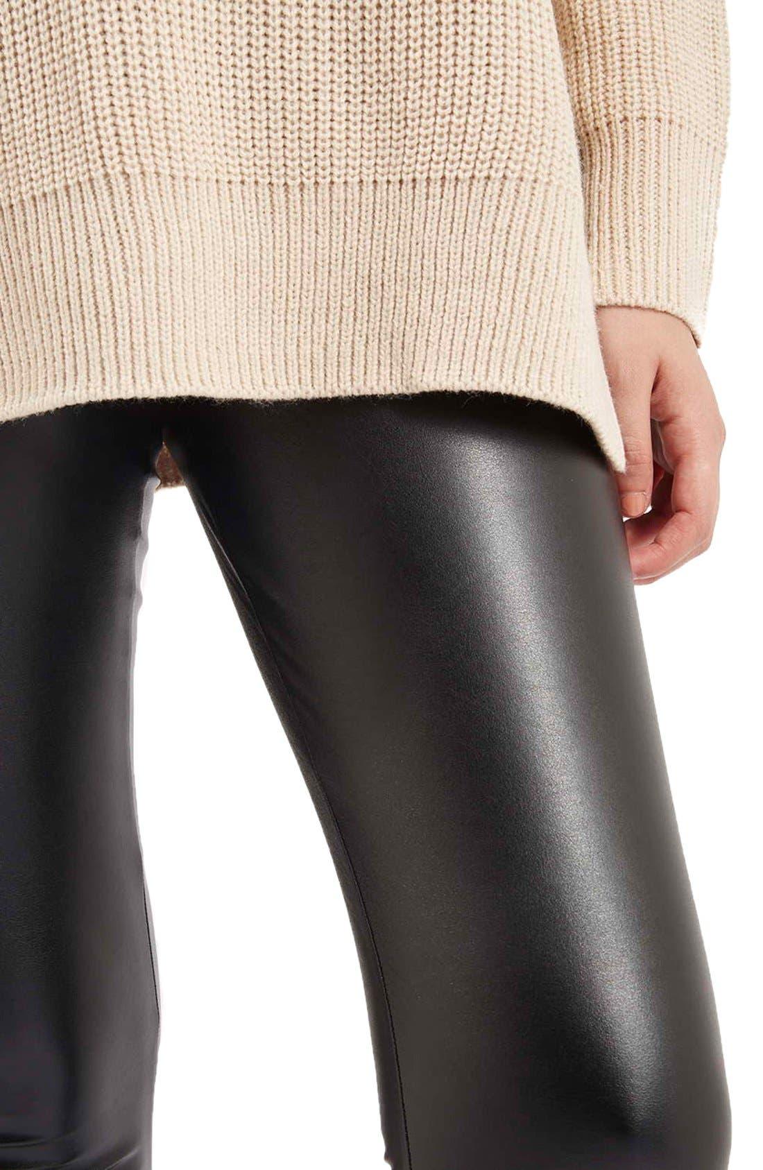 Alternate Image 4  - TopshopWet Look Leggings (Petite)