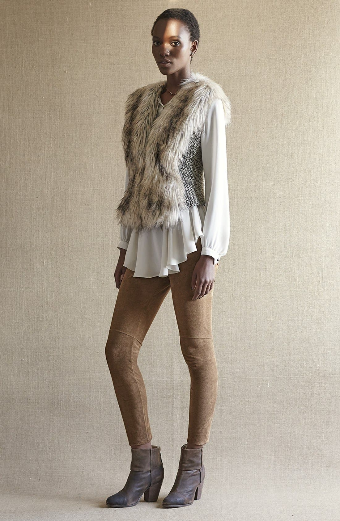 Alternate Image 6  - Dena Tweed & Faux Fur Vest