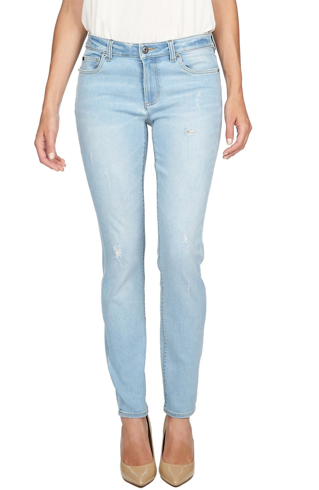 Alternate Image 1 Selected - CeCe by Cynthia Steffe Distressed Stretch Skinny Jeans (Sky)