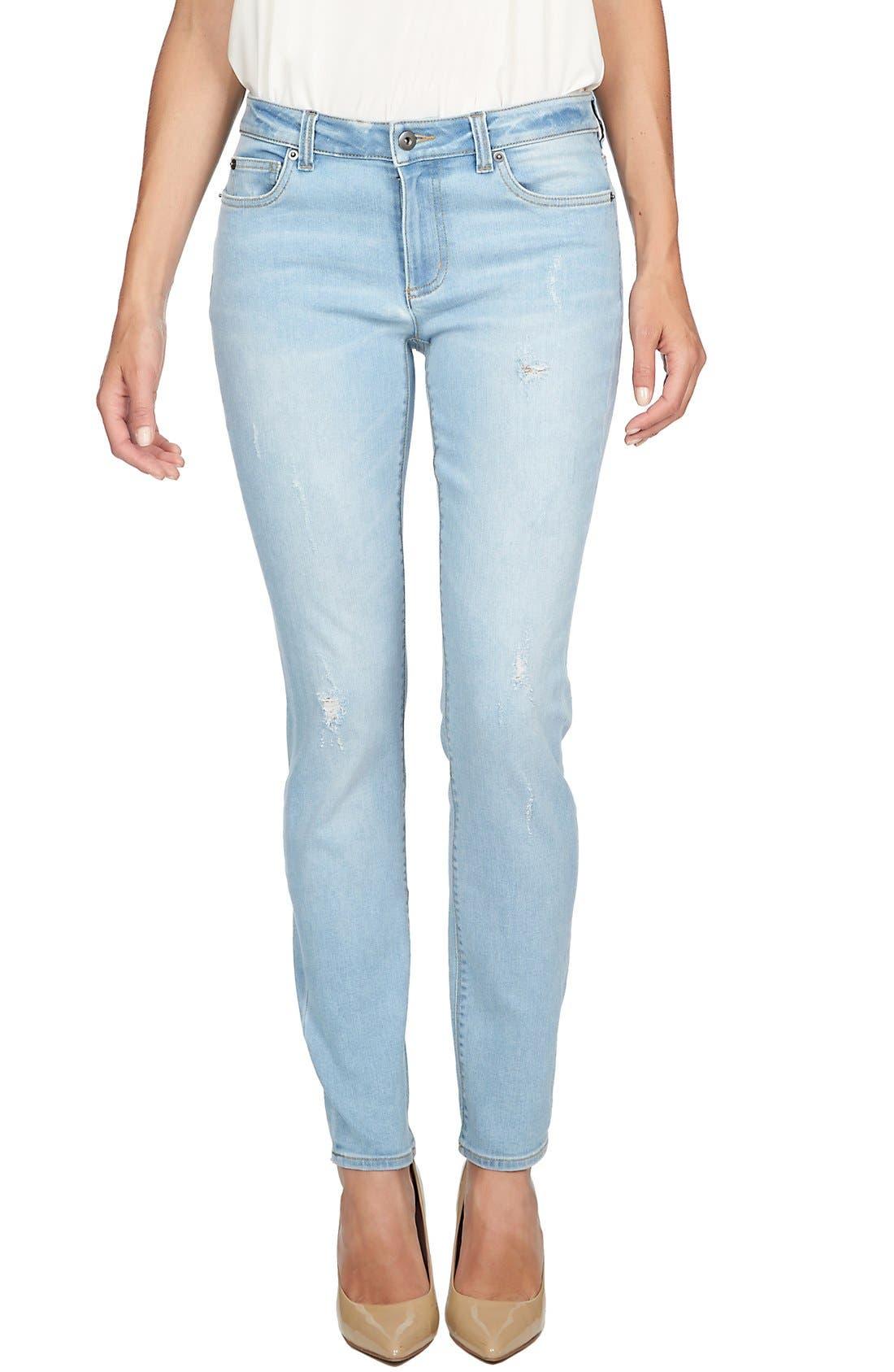 Main Image - CeCe by Cynthia Steffe Distressed Stretch Skinny Jeans (Sky)