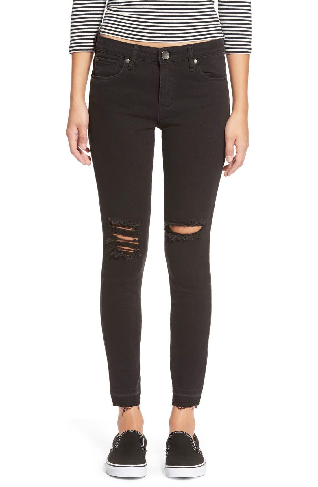 Alternate Image 1 Selected - STSBlue 'Emma' Distressed High Rise Ankle Skinny Jeans (Black)