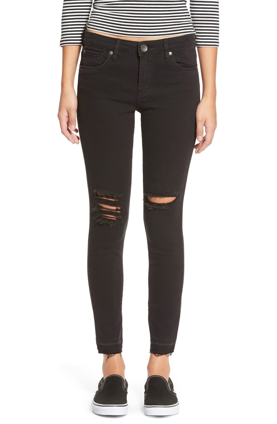 Main Image - STSBlue 'Emma' Distressed High Rise Ankle Skinny Jeans (Black)