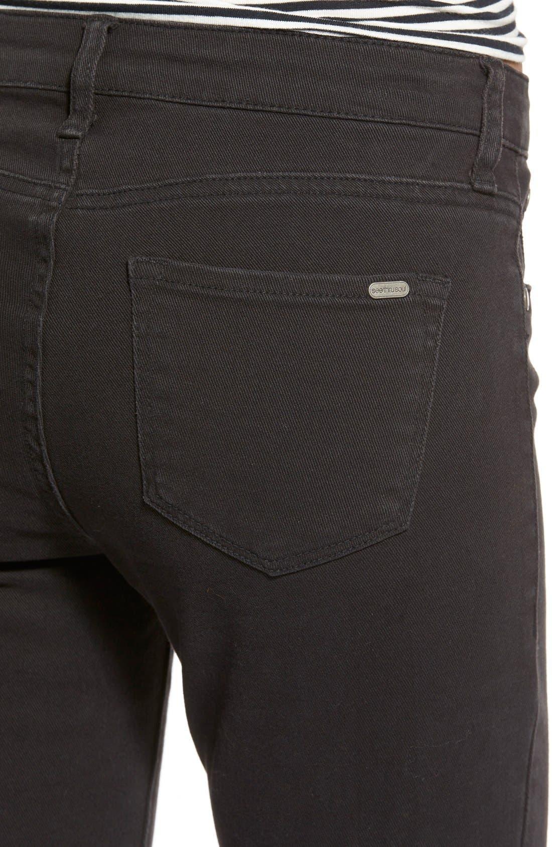 Alternate Image 5  - STSBlue 'Emma' Distressed High Rise Ankle Skinny Jeans (Black)