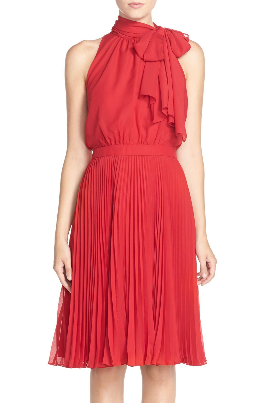 Main Image - Maggy London Tie Neck Pleat Chiffon Blouson Dress