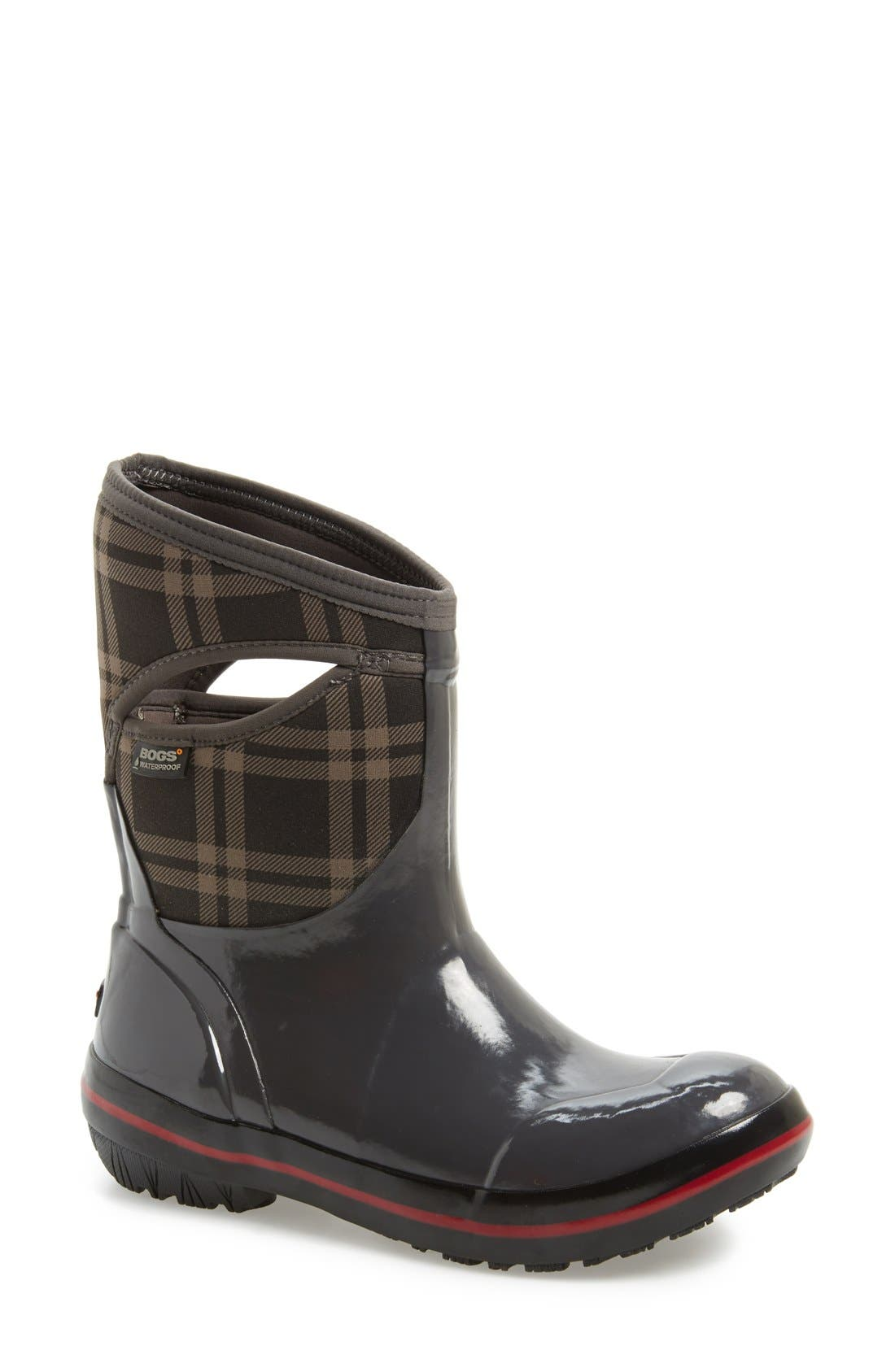 Bogs 'Pimsoll Plaid' Mid High Waterproof Snow Boot with Cutout Handles (Women)