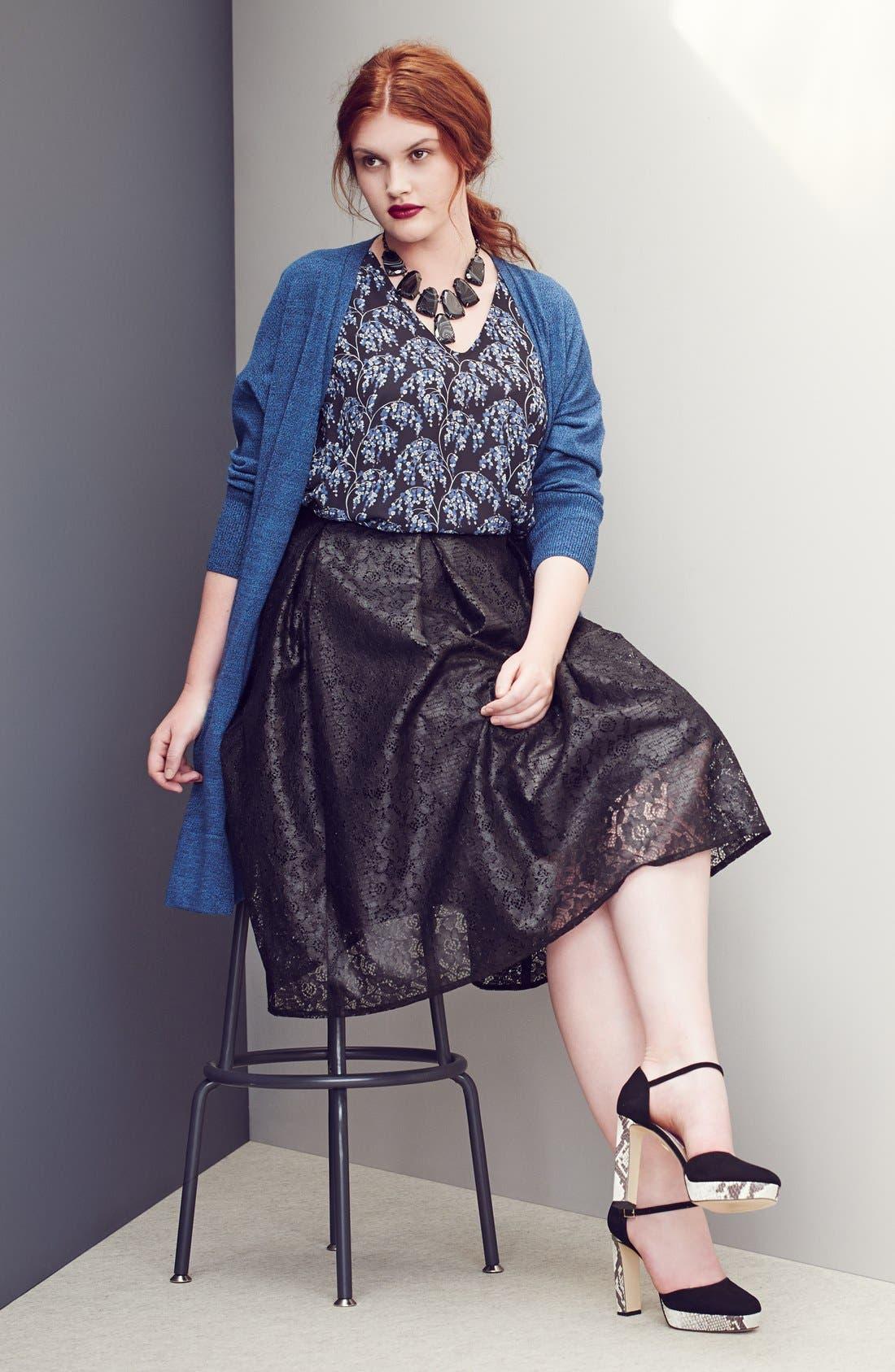 Alternate Image 2  - Sejour 'Core' Wool Blend V-Neck Cardigan (Plus Size)