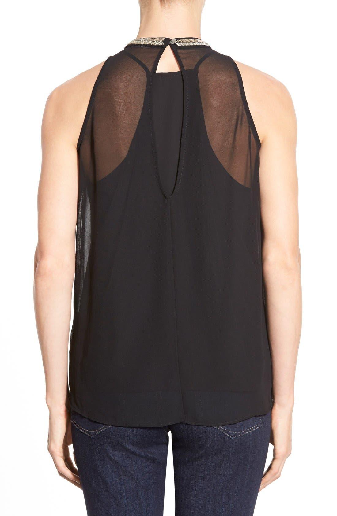 Alternate Image 2  - DKNYC Embellished Fringe Sleeveless Chiffon Top