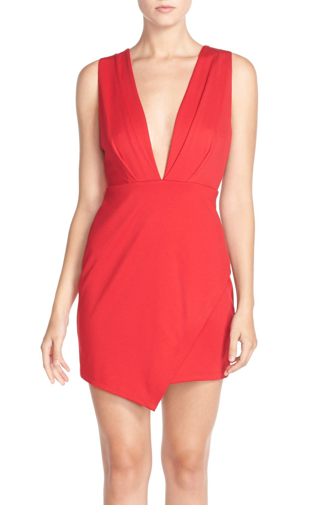 Fraiche by J Plunging Jersey Minidress
