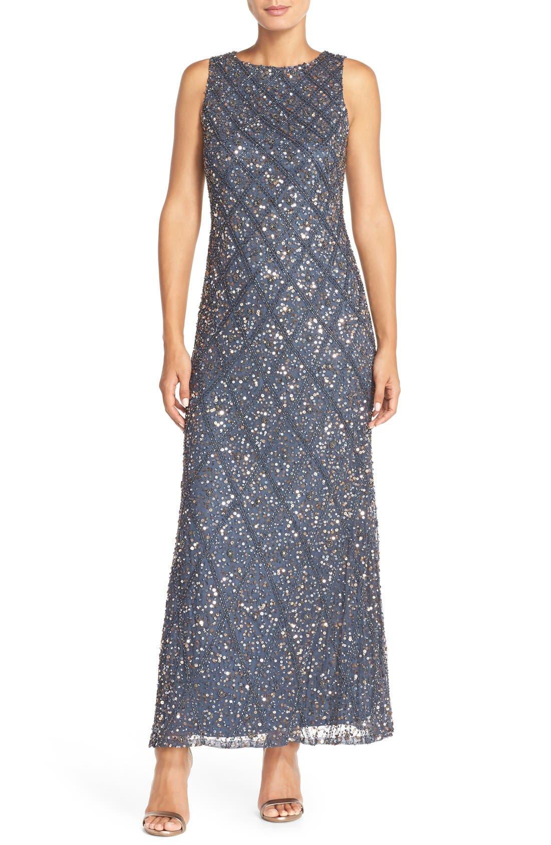 Main Image - Pisarro Nights Embellished Mesh Gown (Regular & Petite)