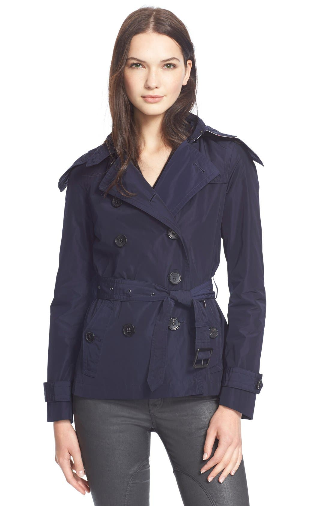 Main Image - Burberry Brit 'Balmoral' Cropped Trench Coat with Detachable Hood
