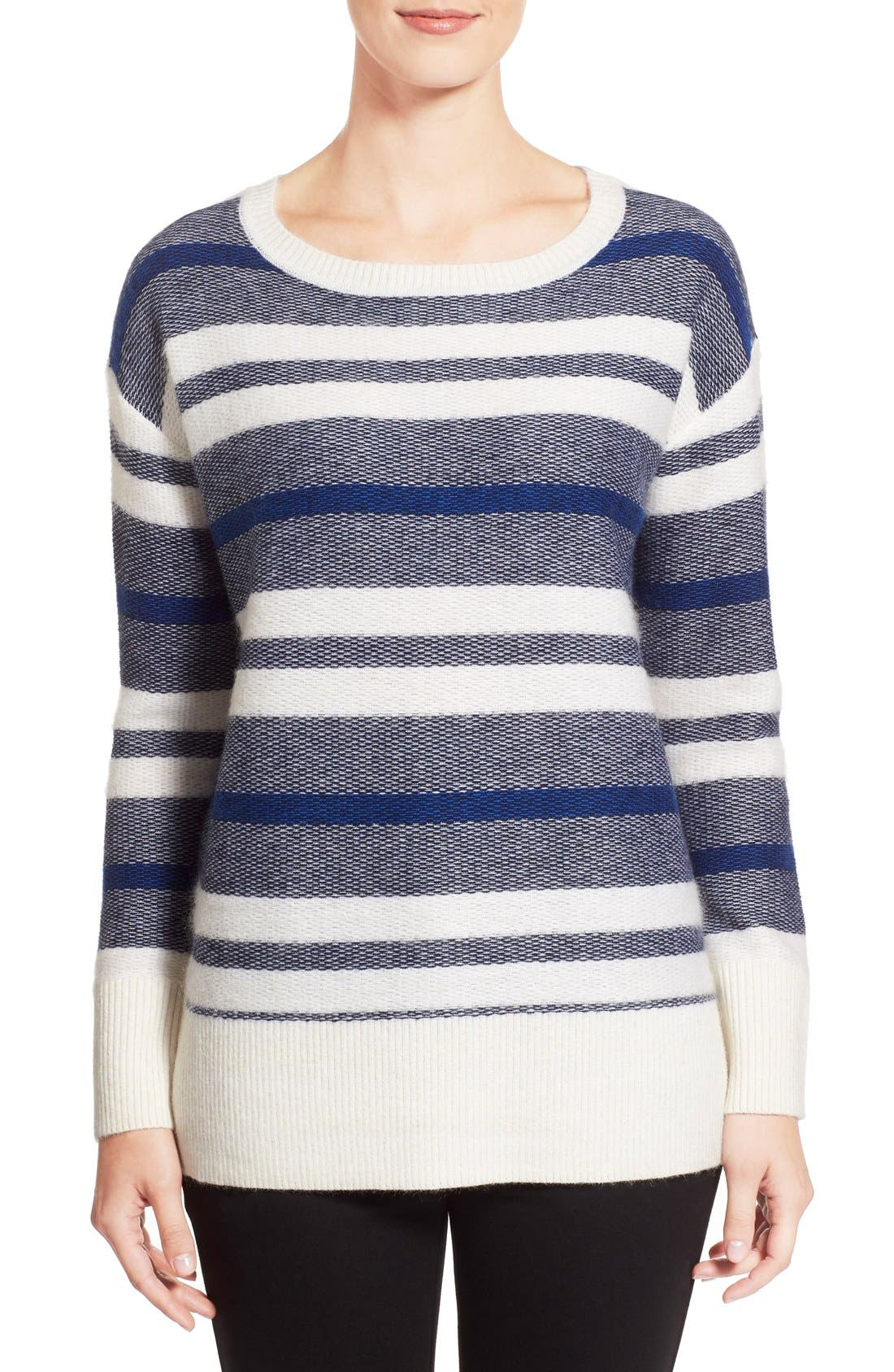 Alternate Image 1 Selected - Nordstrom Collection Stripe Wool Blend Pullover
