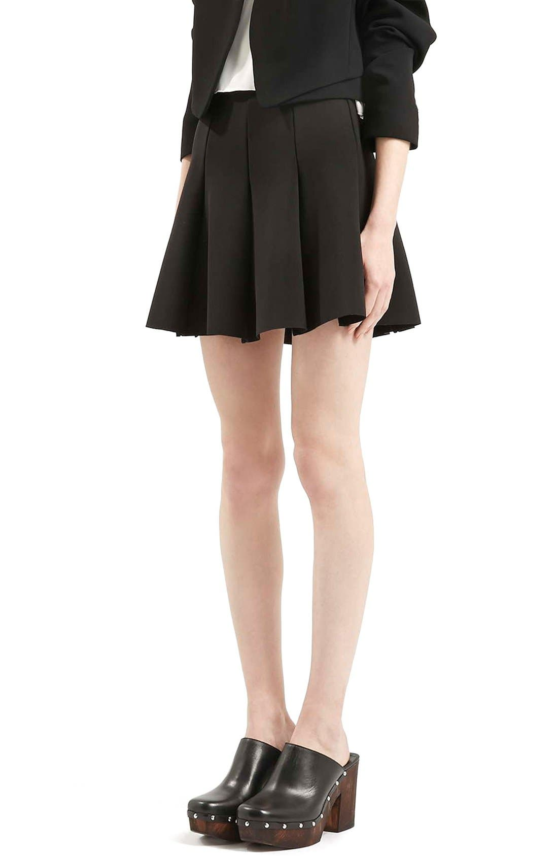 Main Image - Topshop Flippy Pleated Miniskirt (Petite)