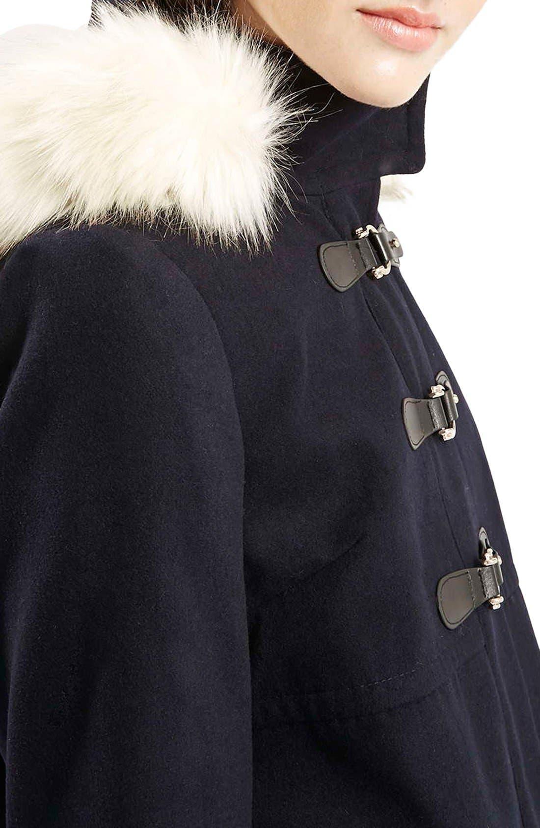 Alternate Image 5  - Topshop 'Hattie' Faux Fur Trim DuffleCoat
