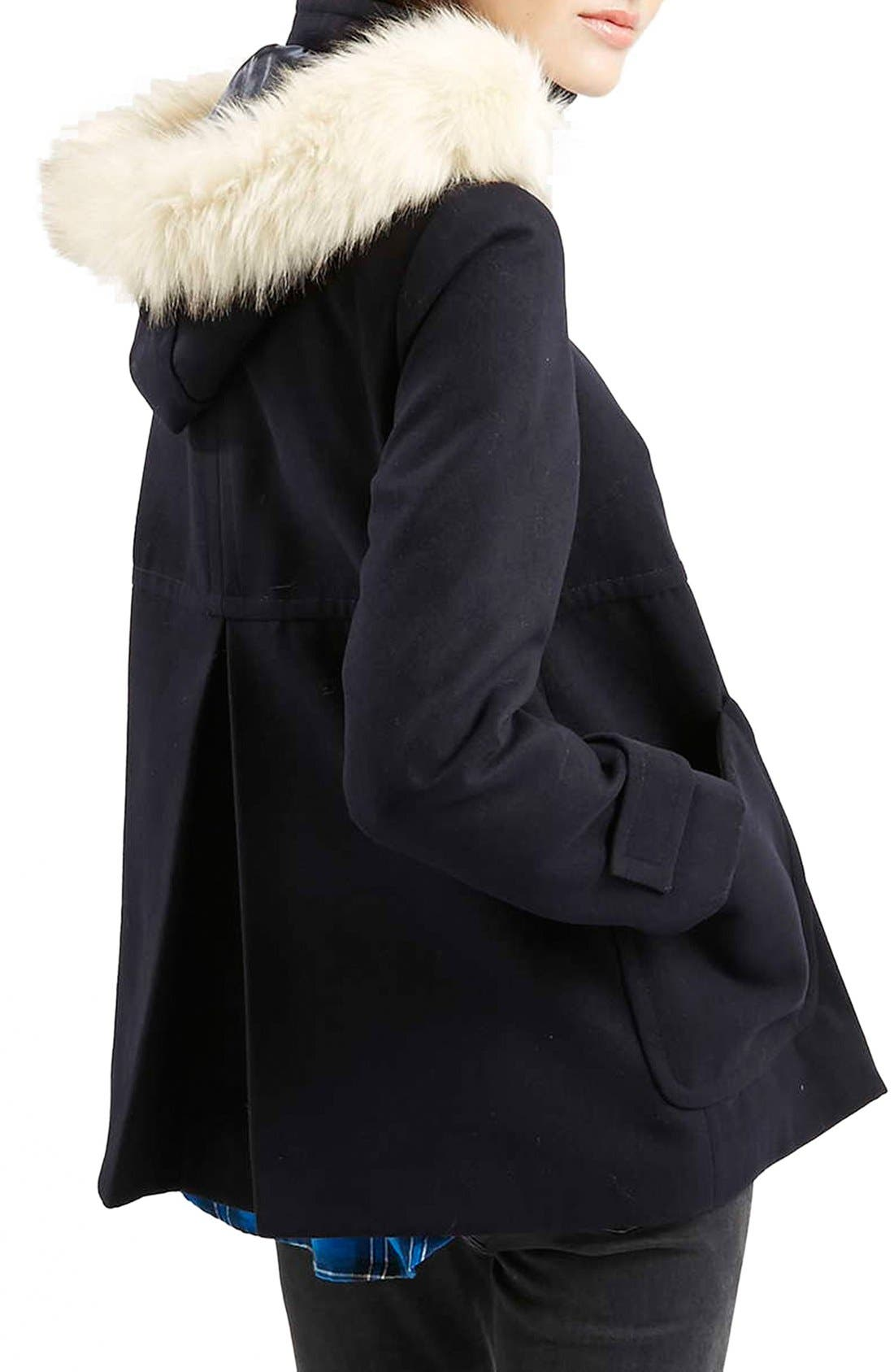 Alternate Image 3  - Topshop 'Hattie' Faux Fur Trim DuffleCoat