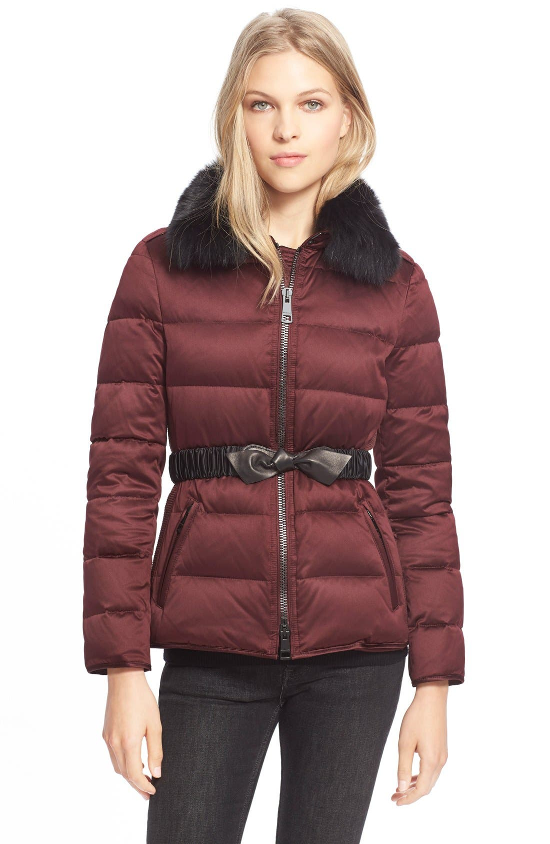 Alternate Image 1 Selected - BurberryBrit Belted Down Jacket withGenuineFoxFurCollar