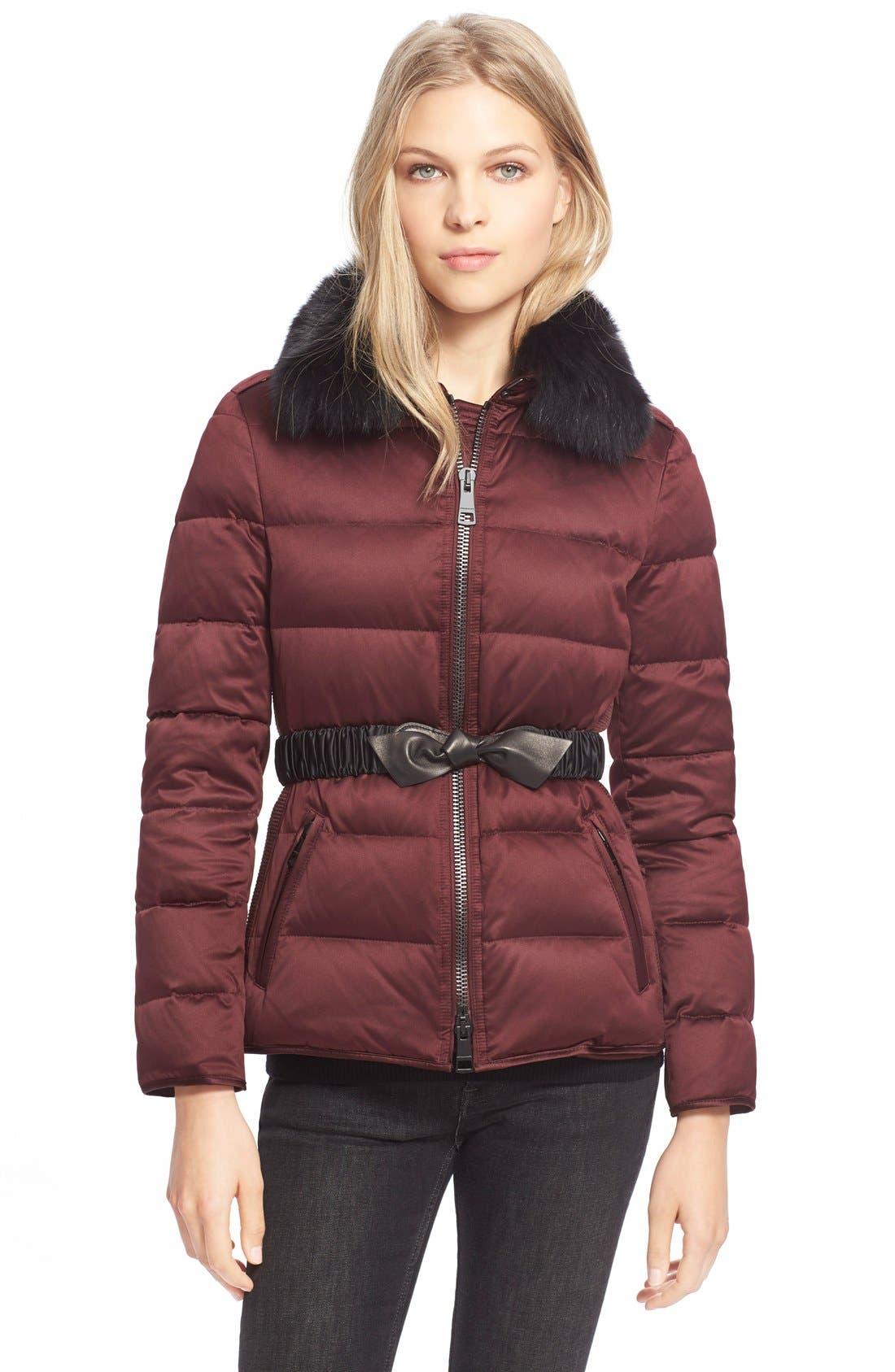 Main Image - BurberryBrit Belted Down Jacket withGenuineFoxFurCollar
