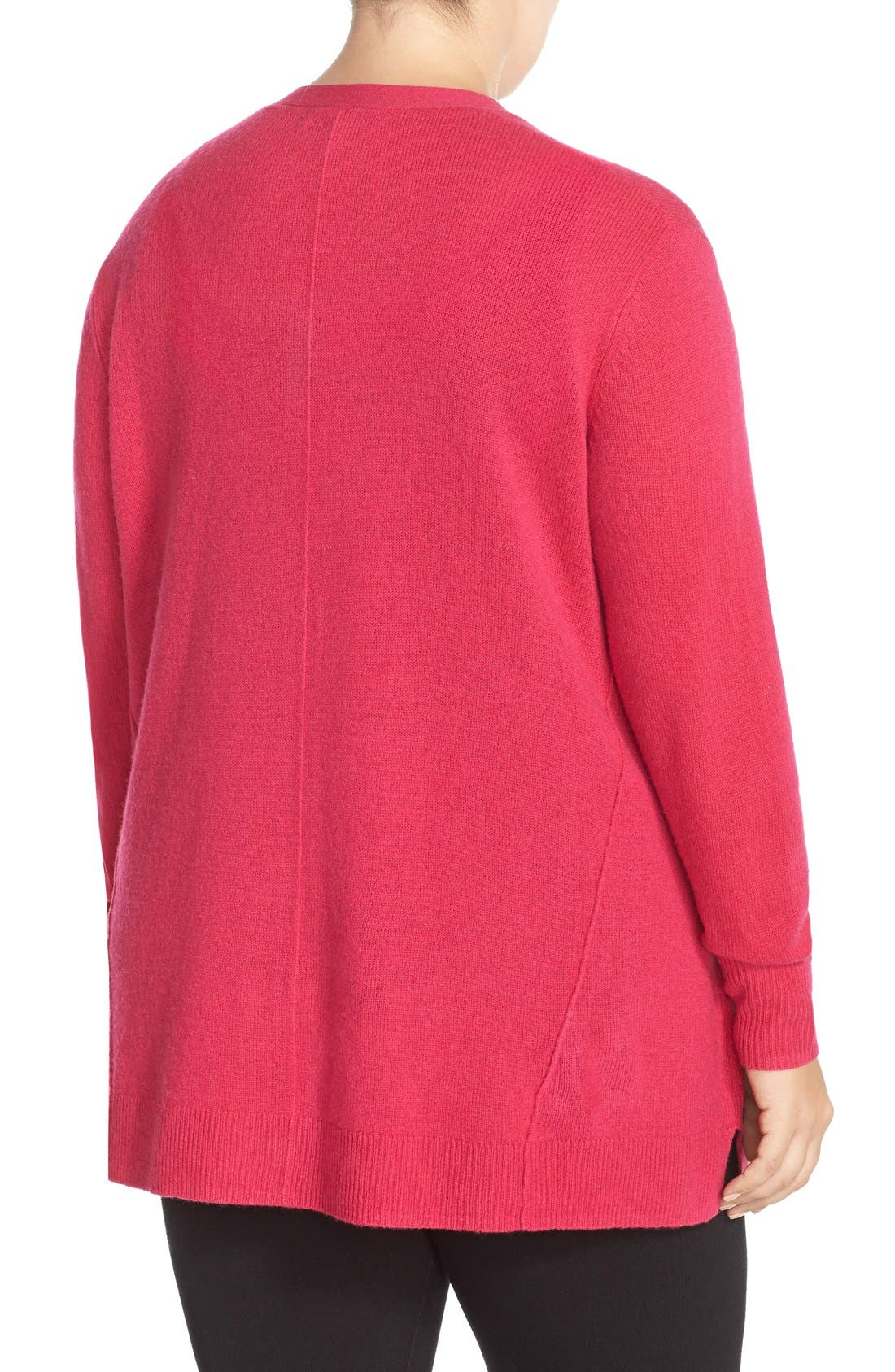 Alternate Image 2  - Sejour Wool & Cashmere Trapeze Cardigan (Plus Size)