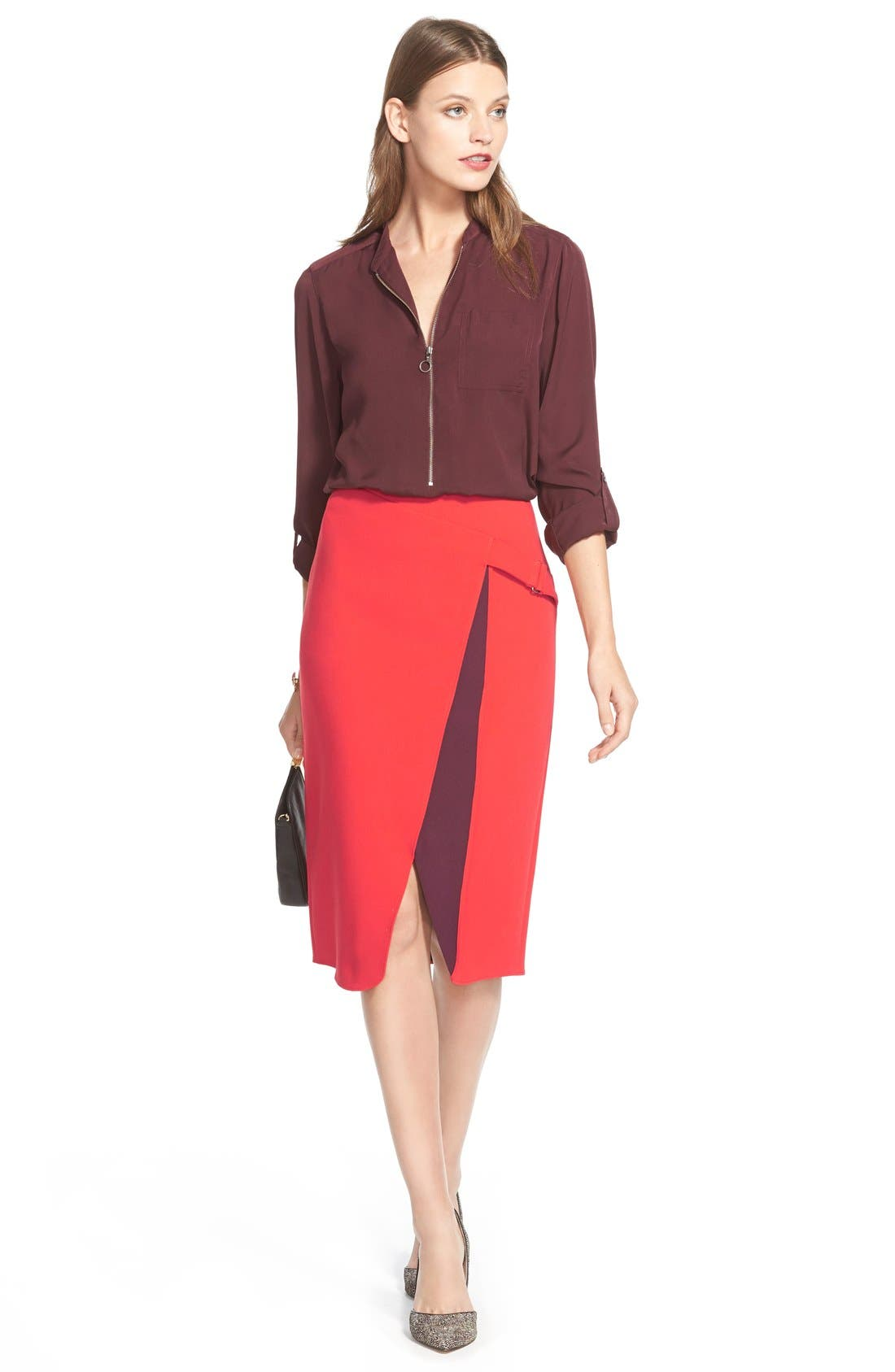 Alternate Image 2  - Halogen® Belt Detail FauxWrap Skirt
