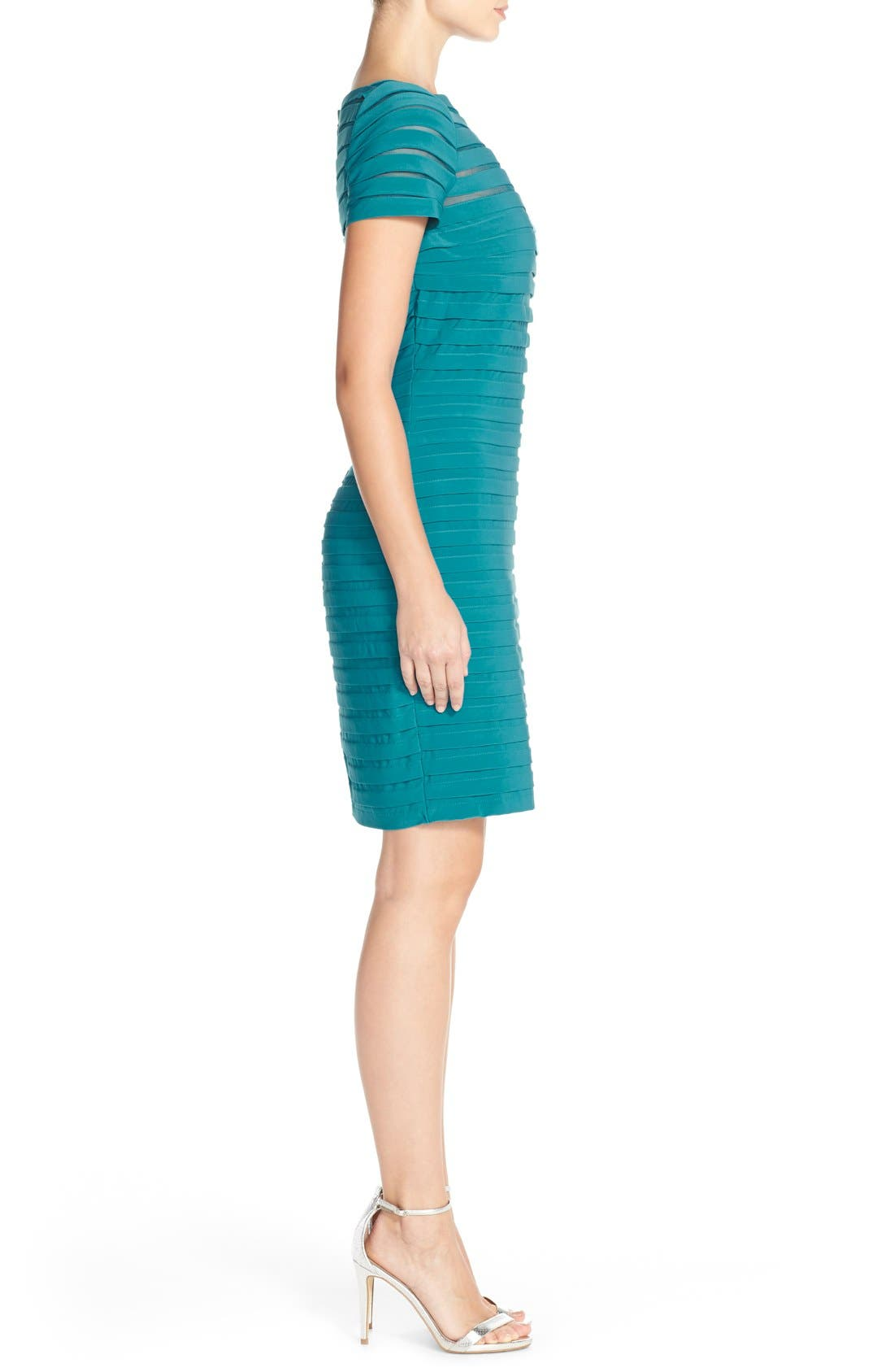 Alternate Image 3  - Adrianna Papell Illusion Bodice Pleated Jersey Sheath Dress (Regular & Petite)