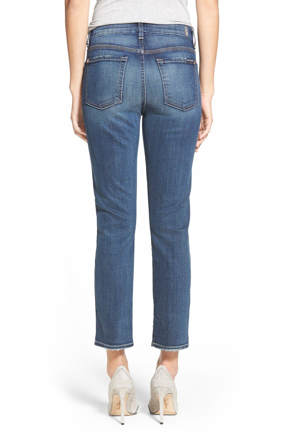 Alternate Image 2  - 7 For All Mankind® Crop Straight Leg Jeans (Icelandic Blue)