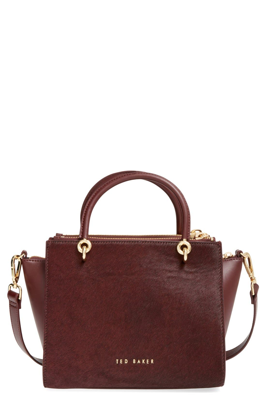Main Image - Ted Baker London 'Haylie' Leather & Genuine Calf Hair Crossbody Tote Bag
