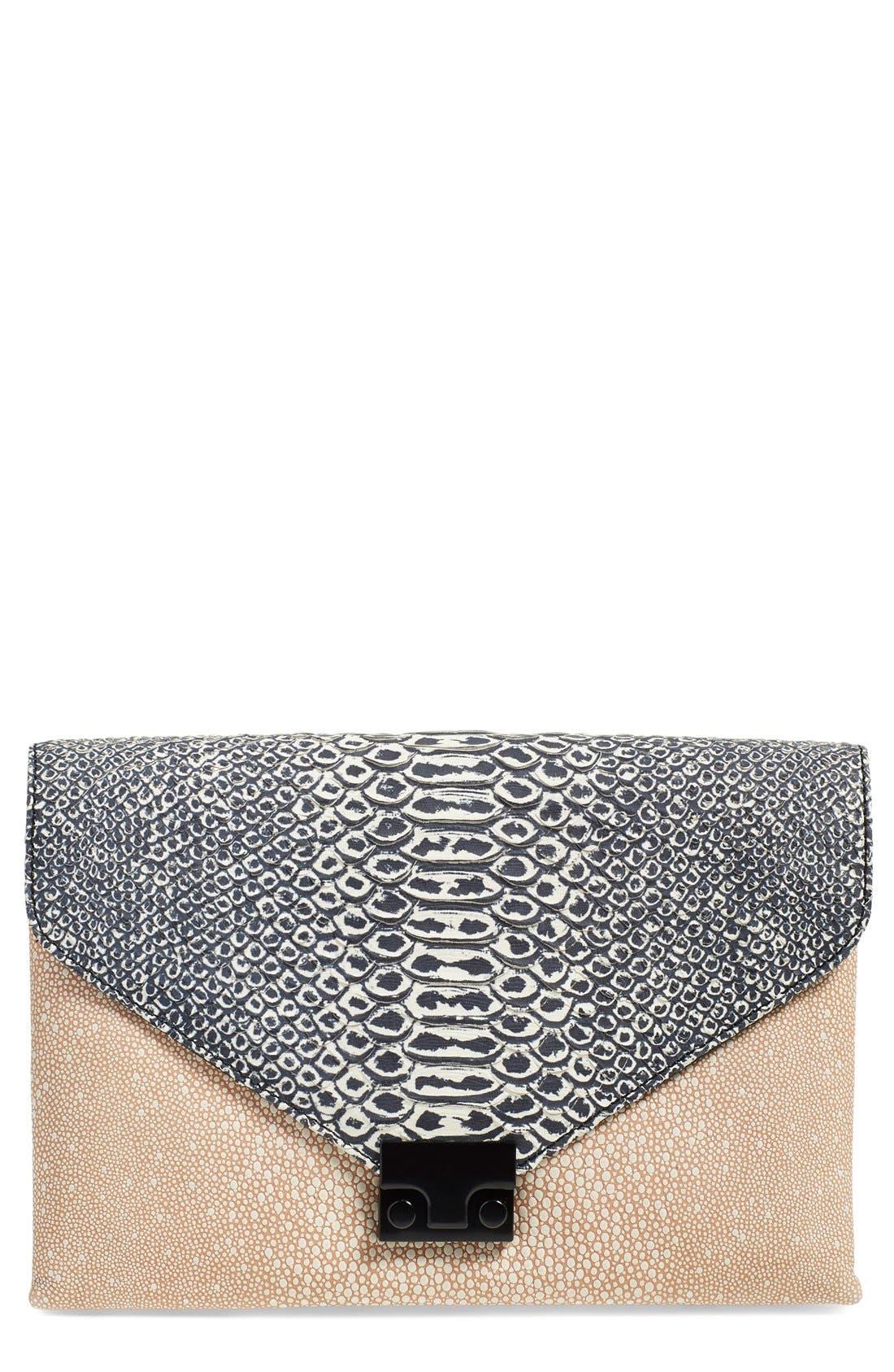 Alternate Image 1 Selected - Loeffler Randall 'Lock' Leather Envelope Clutch