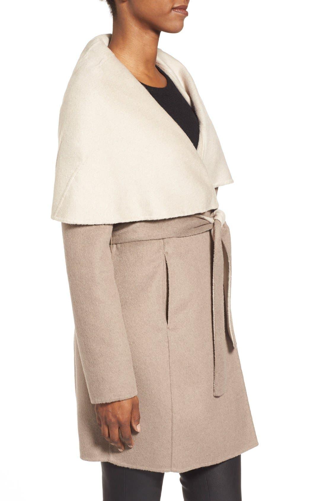 Alternate Image 3  - ElieTahari'Mala' Hooded Wool BlendWrap Coat