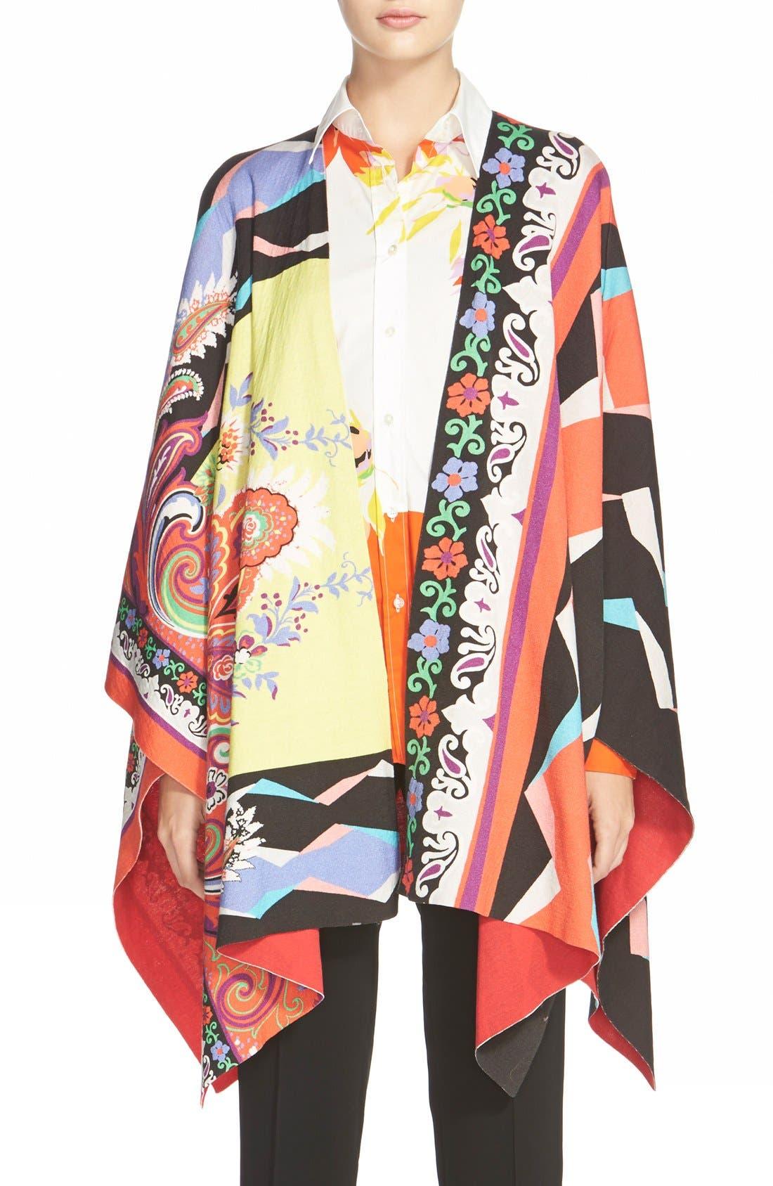 Alternate Image 1 Selected - Etro Geo Print Cotton Poncho
